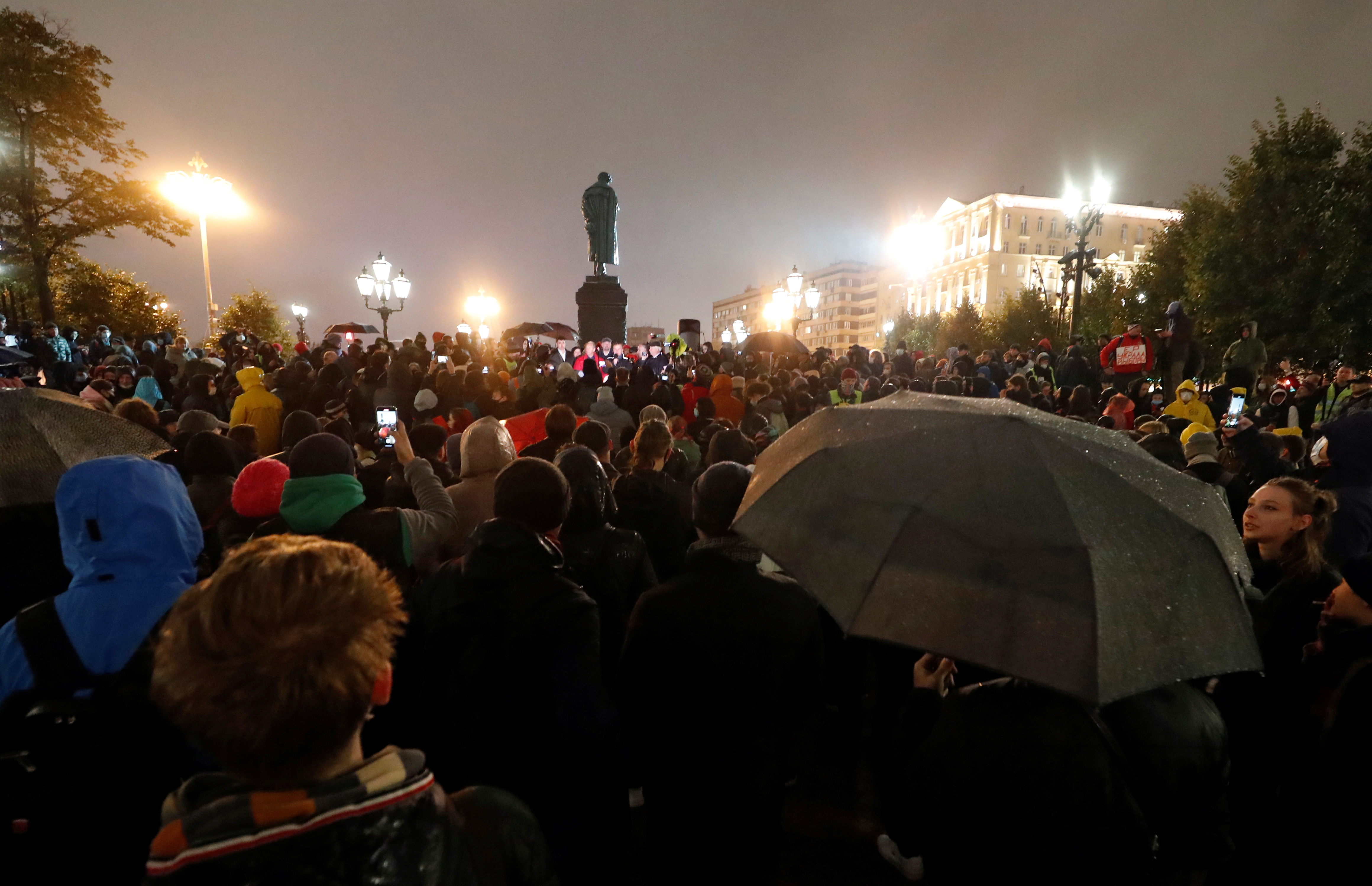 Members and supporters of the Russian Communist Party attend a rally to protest against the preliminary results of the parliamentary election in Moscow, Russia September 20, 2021. REUTERS/Shamil Zhumatov