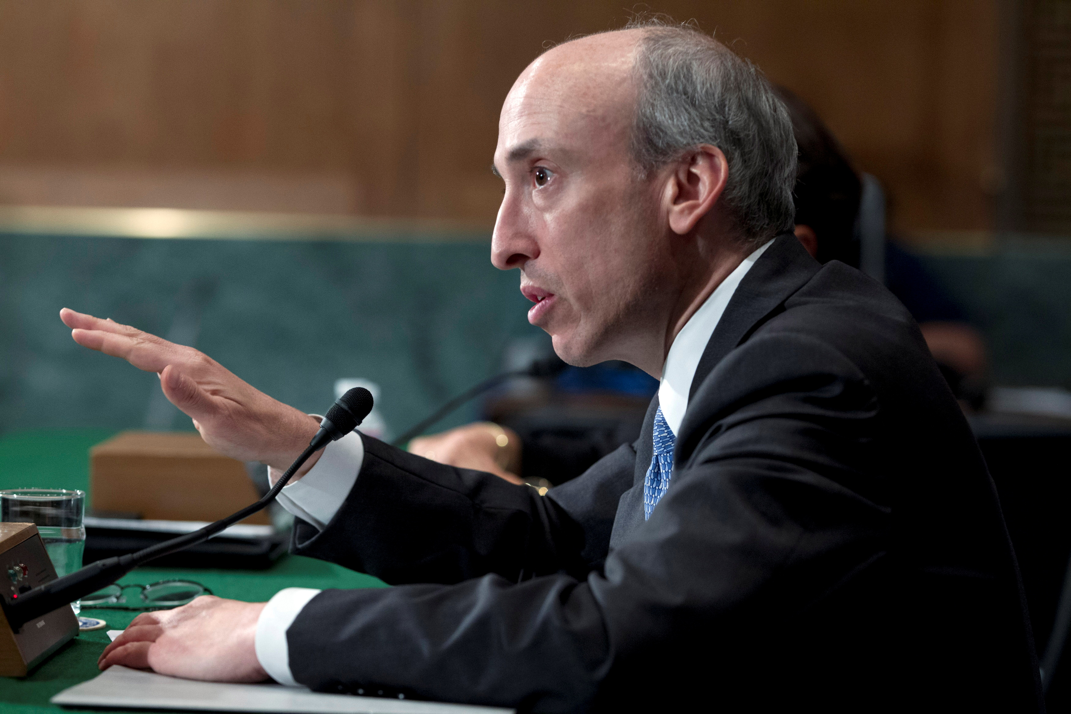 Commodity Futures Trading Commission Chair Gary Gensler testifies at a Senate Banking, Housing and Urban Affairs Committee hearing on Capitol Hill July 30, 2013. REUTERS/Jose Luis Magana (UNITED STATES - Tags: POLITICS BUSINESS)/File Photo