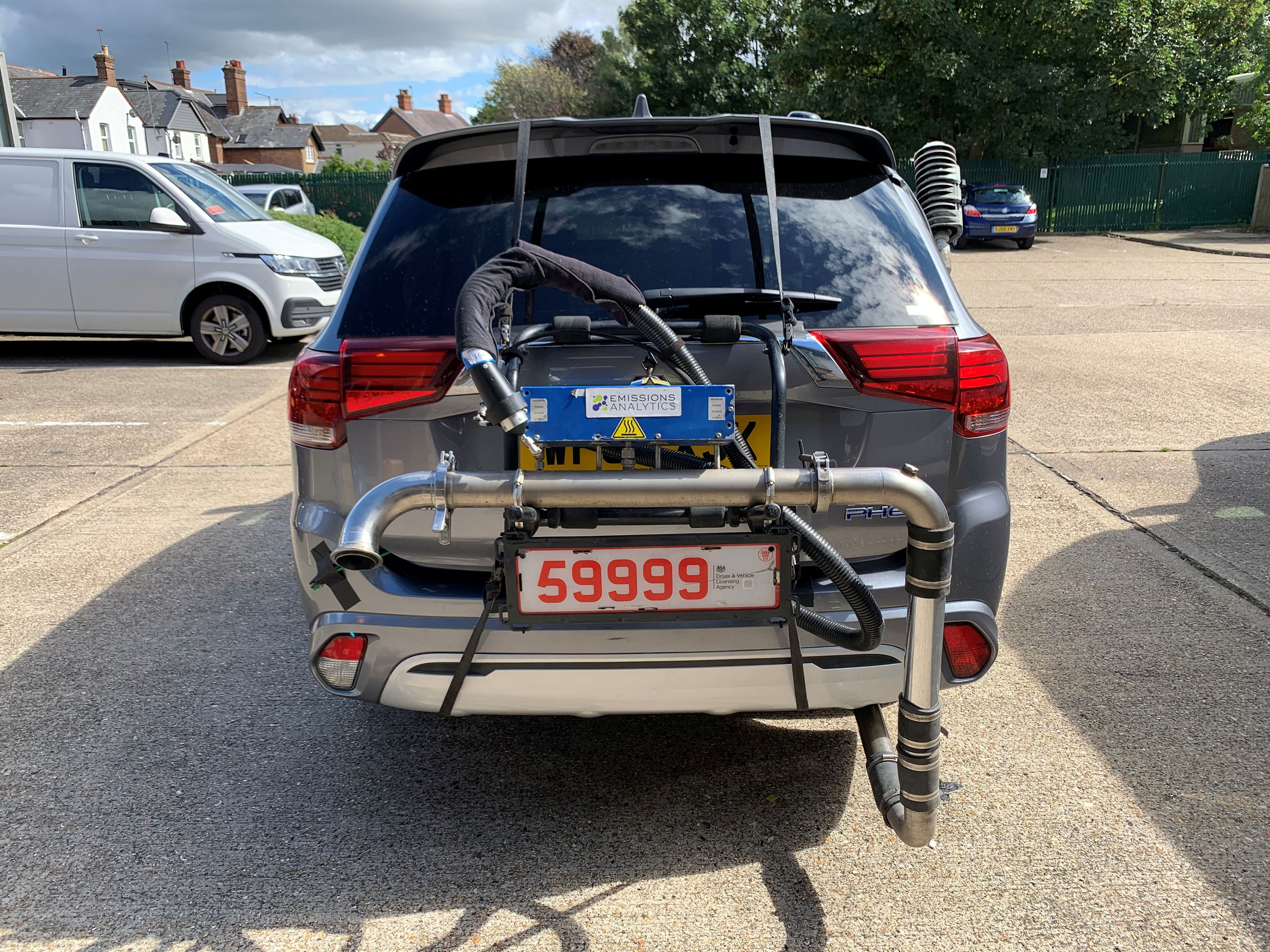 A Mitsubishi Outlander plug-in hybrid is pictured while undergoing tests by Emissions Analytics for a study on emissions by NGO Transport & Environment in unknown location in this picture obtained by Reuters on March 31, 2021. Emissions Analytics/Handout via REUTERS