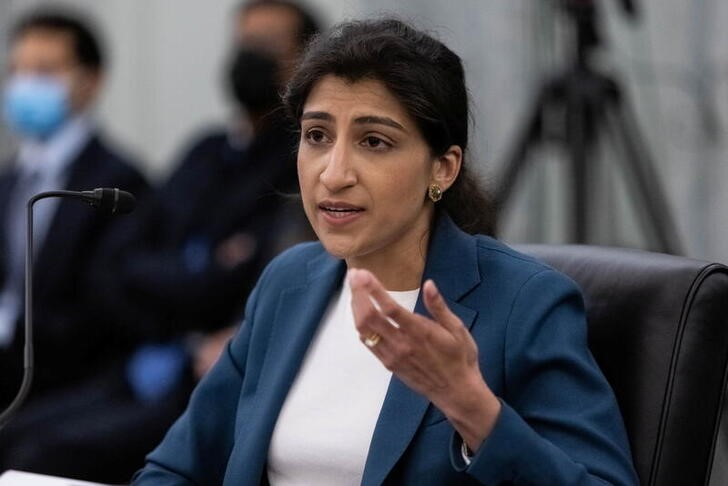 Then FTC Commissioner nominee Lina M. Khan testifies during a Senate hearing on Capitol Hill in Washington, April 21, 2021. Graeme Jennings/Pool via REUTERS
