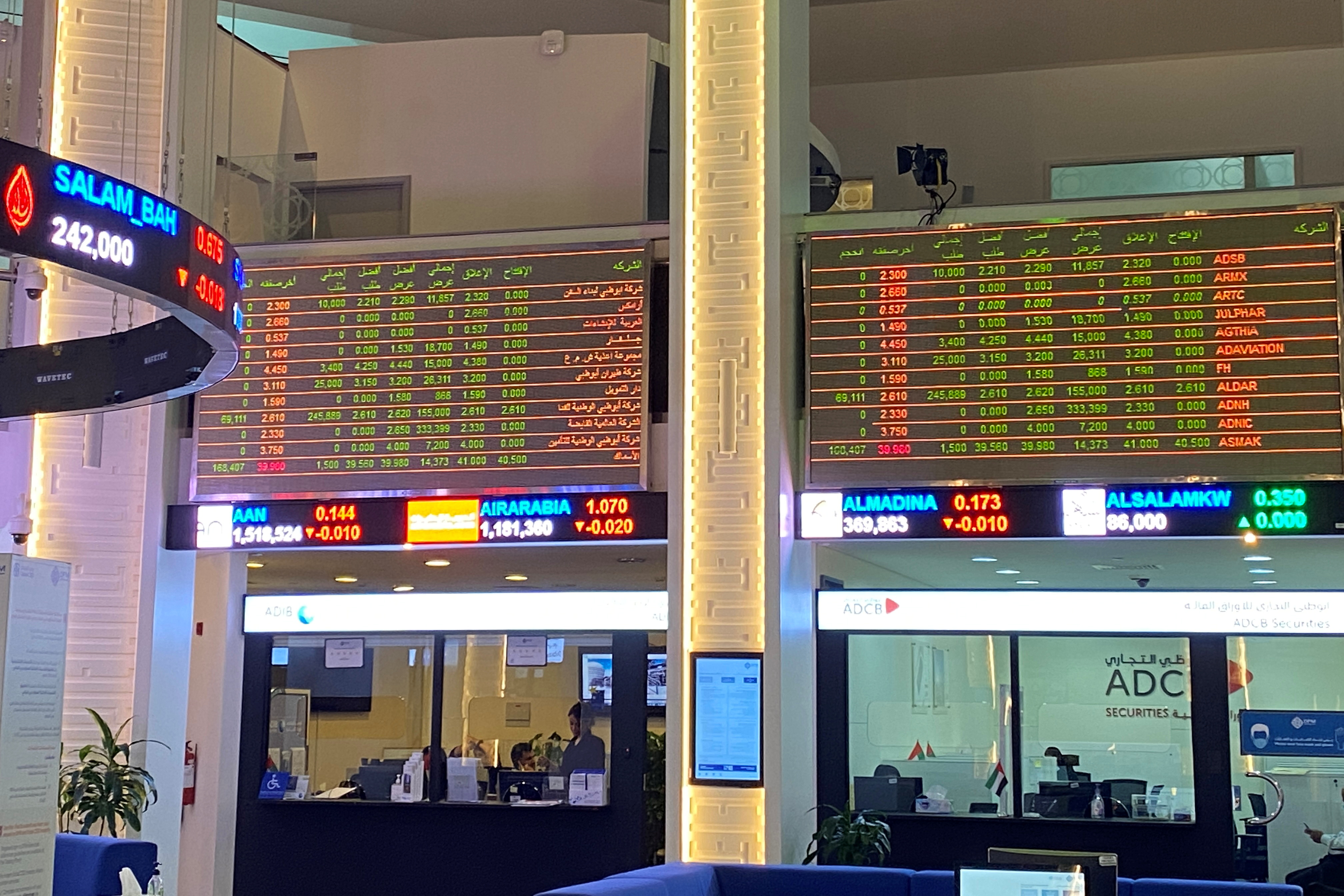 Electronic boards showing stock information are pictured at the stock market, in Dubai, United Arab Emirates, November 5, 2020. REUTERS/Abdel Hadi Ramahi