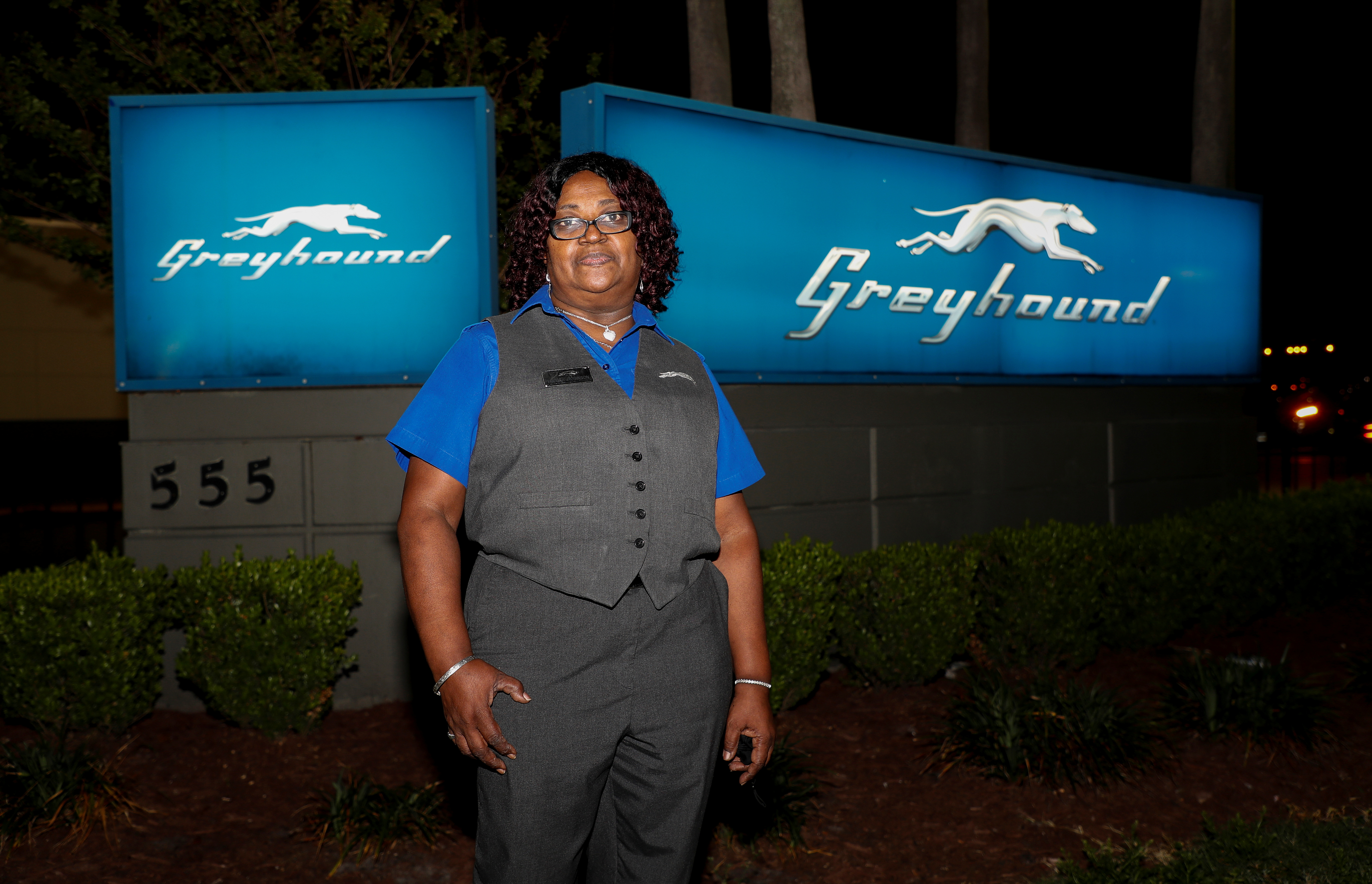 Greyhound Bus driver Marvia Robinson is seen after her overnight shift in Orlando, Florida, U.S., March 28, 2021. Picture taken March 28, 2021.  REUTERS/Joe Skipper