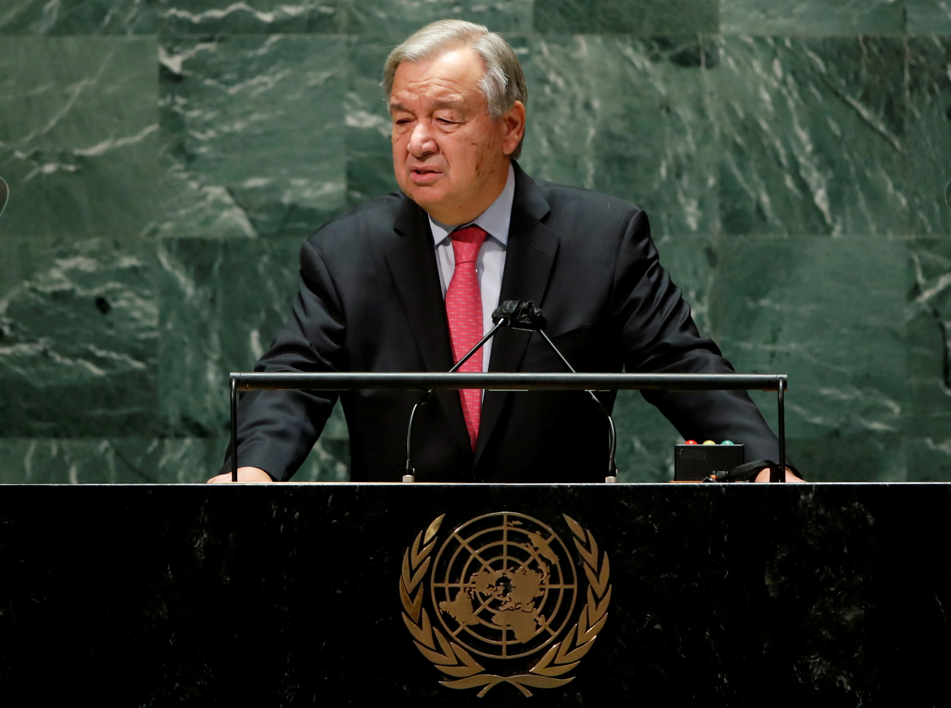 United Nations Secretary-General Antonio Guterres addresses the 76th Session of the U.N. General Assembly in New York City, U.S., September 21, 2021.  REUTERS/Eduardo Munoz/Pool//File Photo