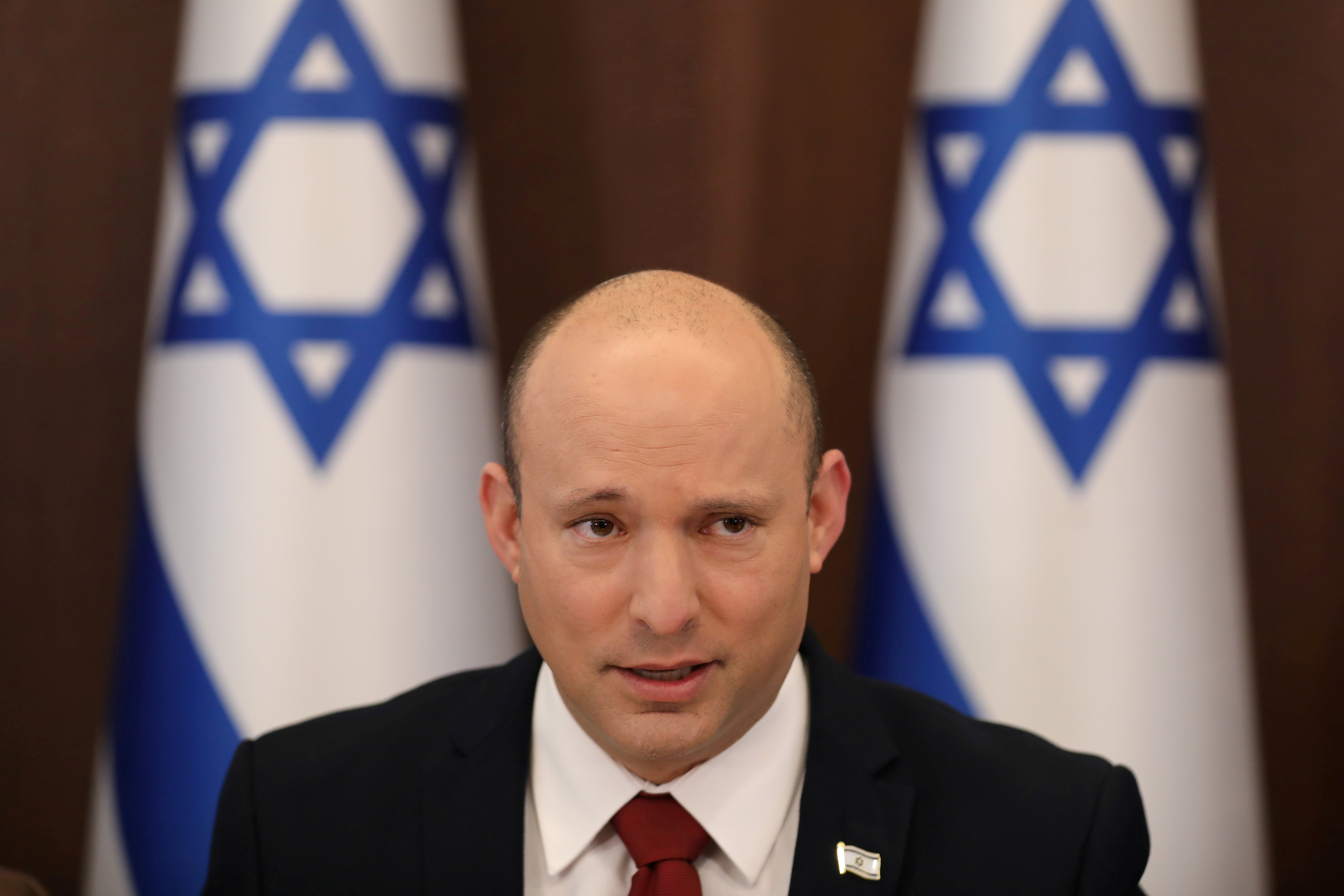 Israeli Prime Minister Naftali Bennett attends the weekly cabinet meeting at the prime minister's office in Jerusalem August 1, 2021. Abir Sultan/Pool via REUTERS/File Photo