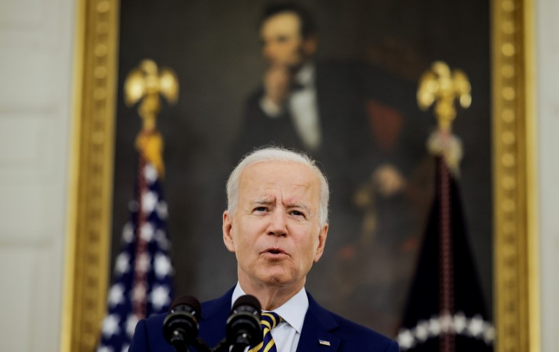 U.S. President Joe Biden speaks about the administration's coronavirus disease (COVID-19) response and the vaccination program during brief remarks in the State Dining Room of the White House in Washington, U.S., June 18, 2021. REUTERS/Carlos Barria