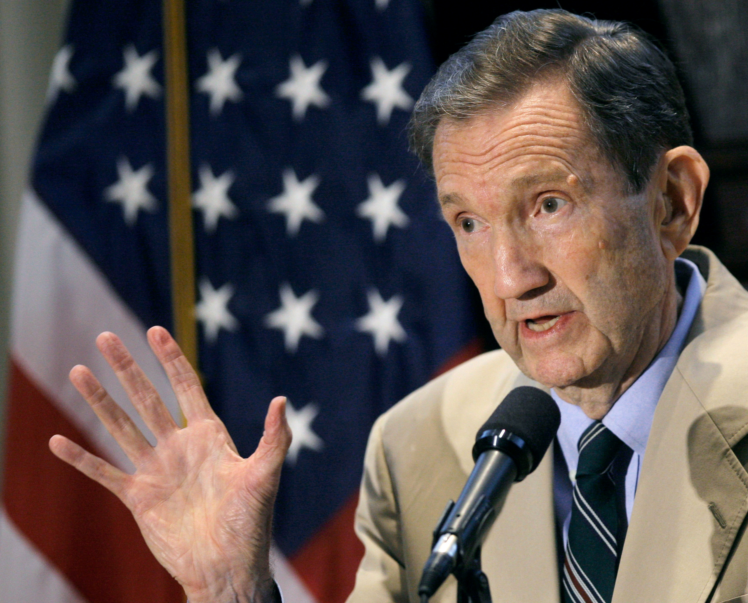 Former U.S. Attorney General Ramsey Clark holds a discussion on the probability of a death or life sentence for Saddam Hussein in Washington October 5, 2006. REUTERS/Jim Young/File Photo