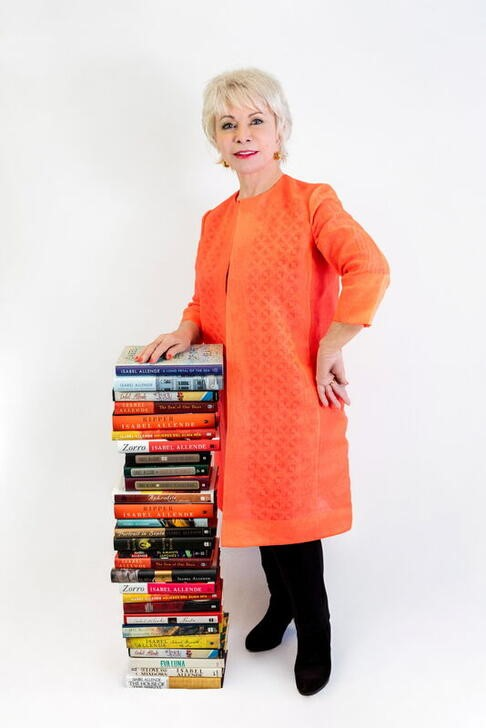 Chilean writer Isabel Allende poses for portrait in Sausalito, California, U.S., June 14, 2021. Picture taken June 14, 2021. Lori Barra/Handout via REUTERS