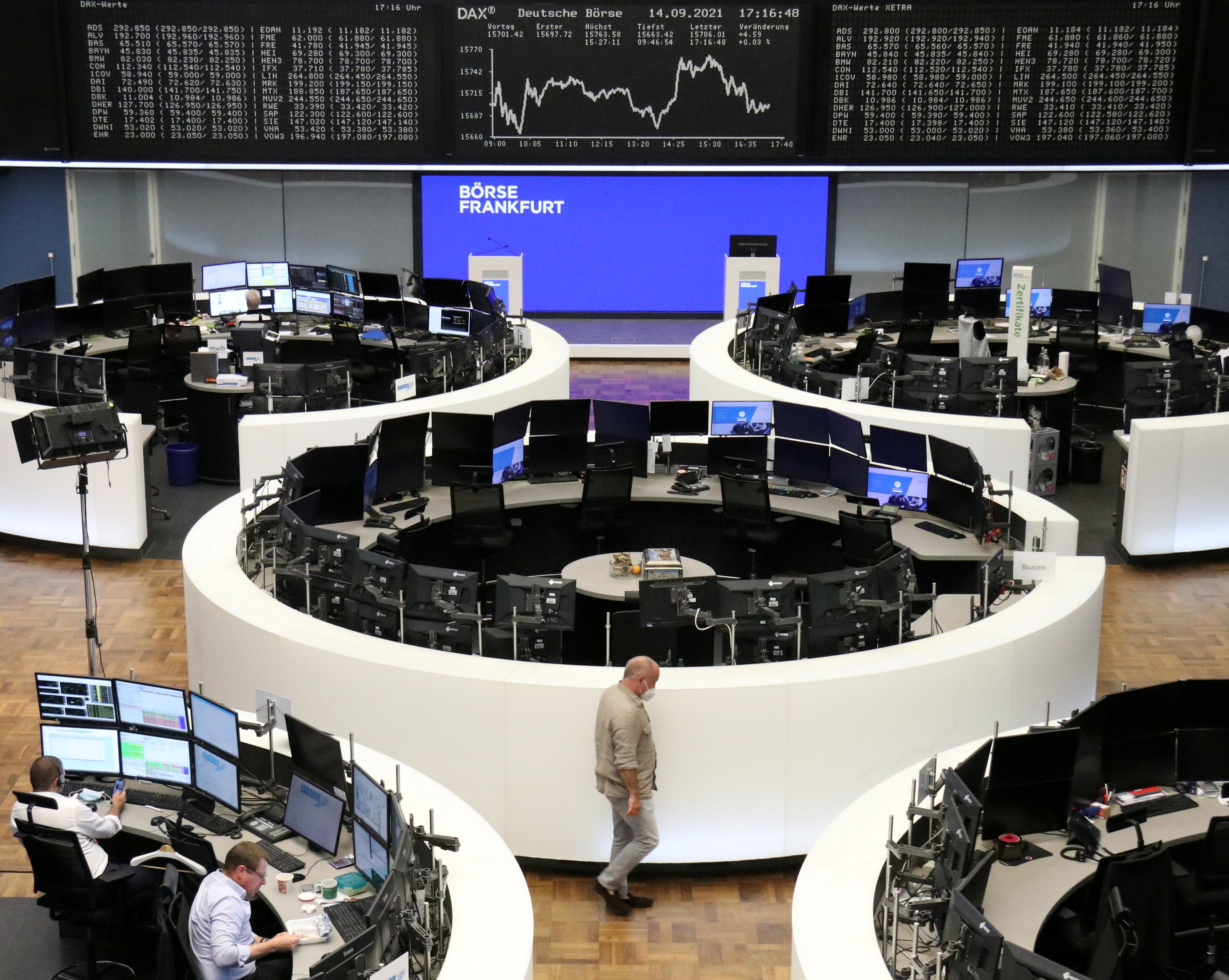 The German share price index DAX graph is pictured at the stock exchange in Frankfurt, Germany, September 14, 2021. REUTERS/Staff
