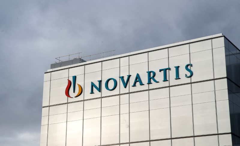 The company's logo is seen at the new cell and gene therapy factory of Swiss drugmaker Novartis in Stein, Switzerland, November 28, 2019. REUTERS/Arnd Wiegmann