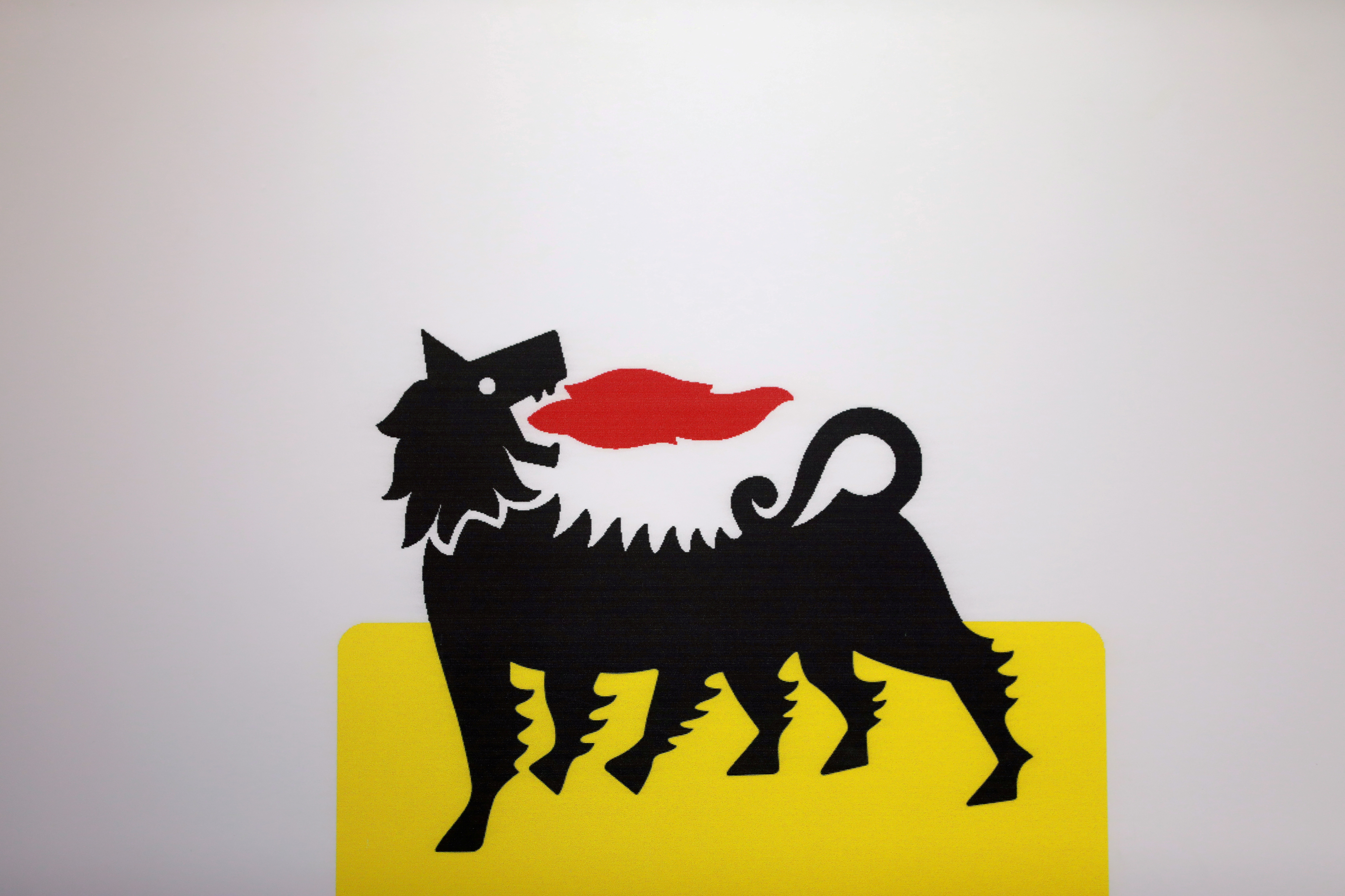 The logo of Italian energy company Eni is seen at the booth of Eni during the Nigeria International Petroleum Summit in Abuja, Nigeria February 10, 2020. REUTERS/Afolabi Sotunde/File Photo