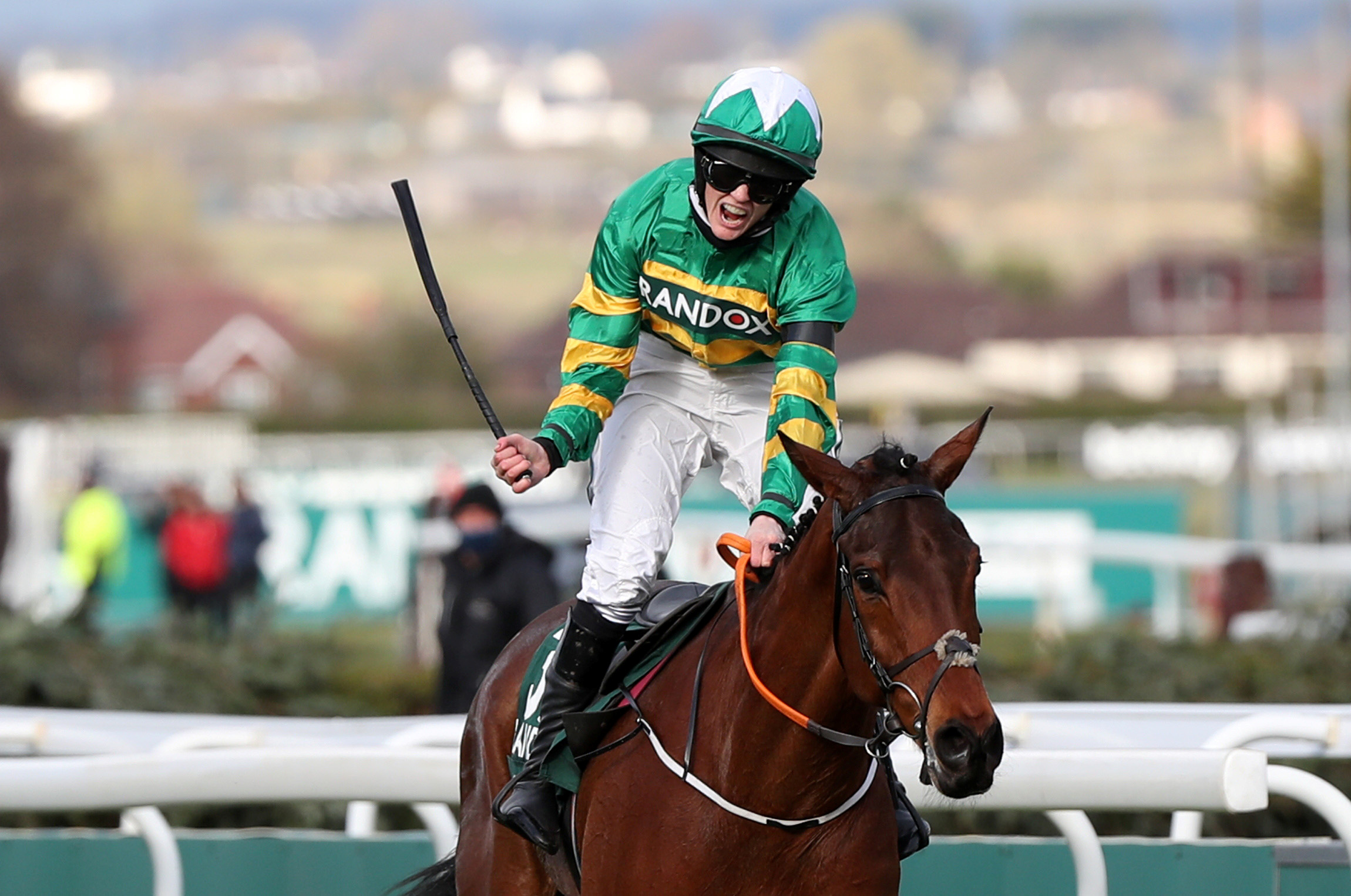 Horse Racing - Grand National Festival - Aintree Racecourse, Liverpool, Britain - April 10, 2021 Rachael Blackmore celebrates winning the Grand National riding Minella Times Pool via REUTERS/Scott Heppell