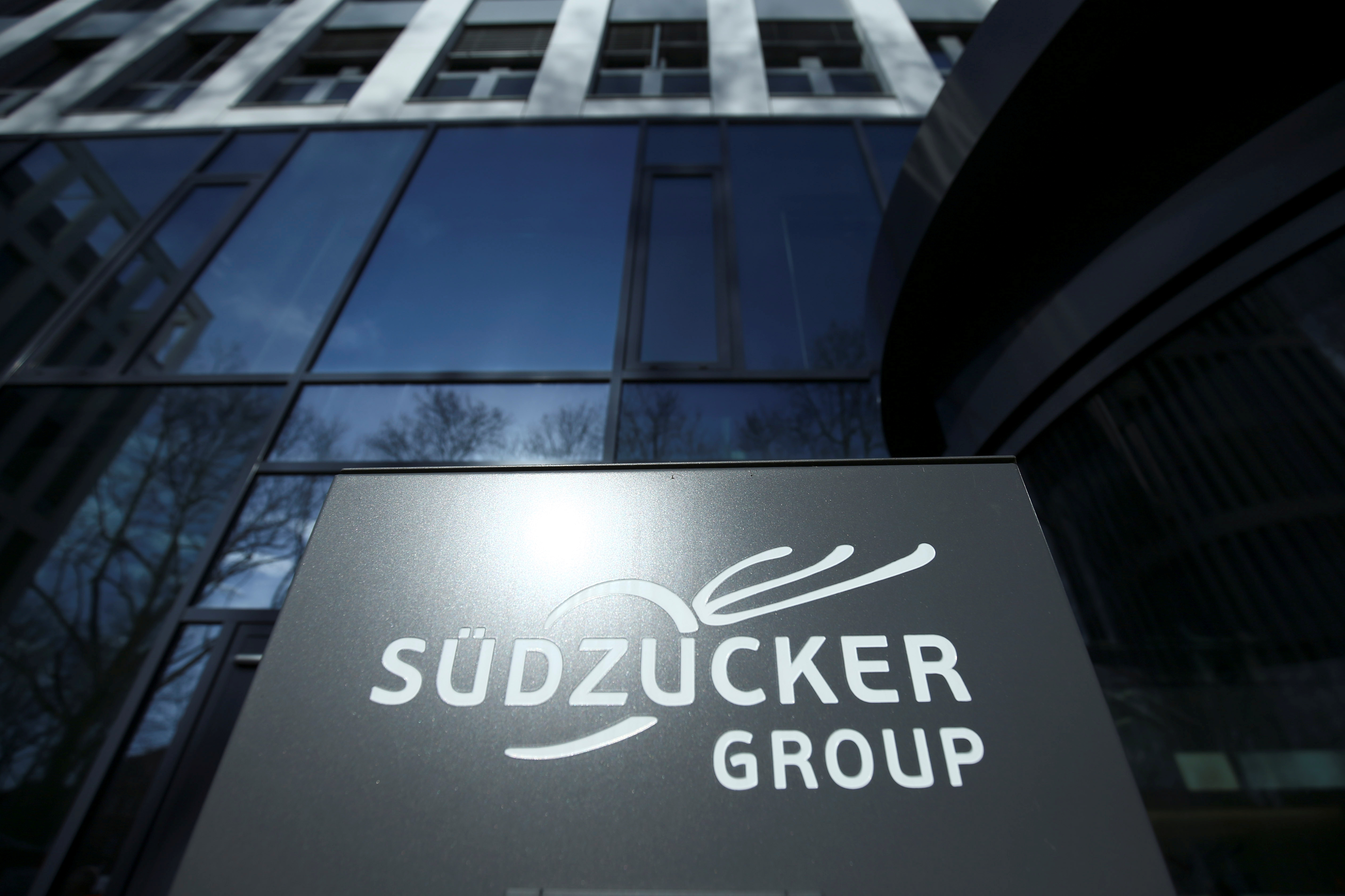 A company logo of Suedzucker Group is pictured at the headquarters in Mannheim, Germany March 12, 2019. REUTERS/Ralph Orlowski/Files