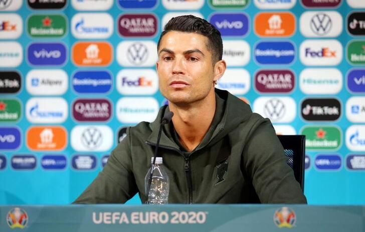 Soccer Football - Euro 2020 - Portugal Press Conference - Puskas Arena, Budapest, Hungary - June 14, 2021 Portugal's Cristiano Ronaldo during the press conference UEFA/Handout via REUTERS