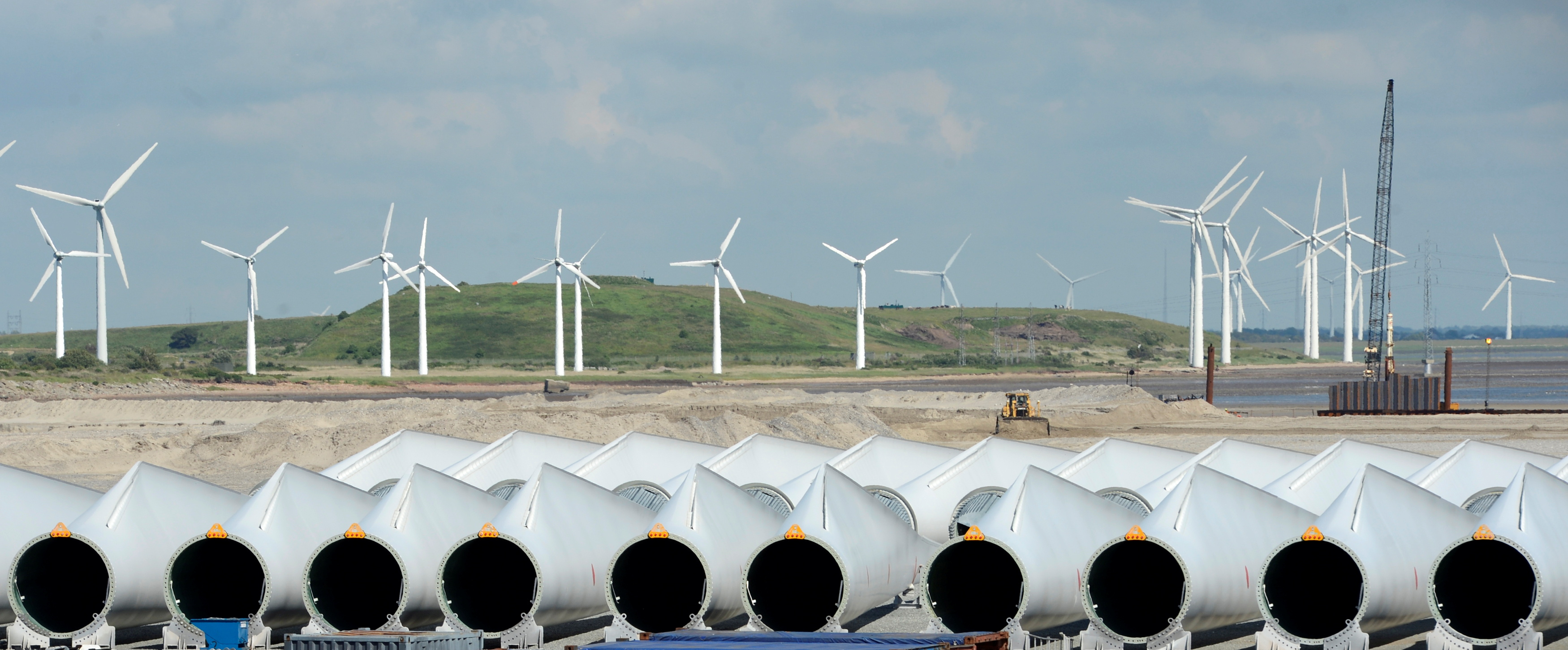 Rotor-blades are pictured at Siemens Wind Power's port of export in Esbjerg June 11, 2012.  REUTERS/Fabian Bimmer/File Photo