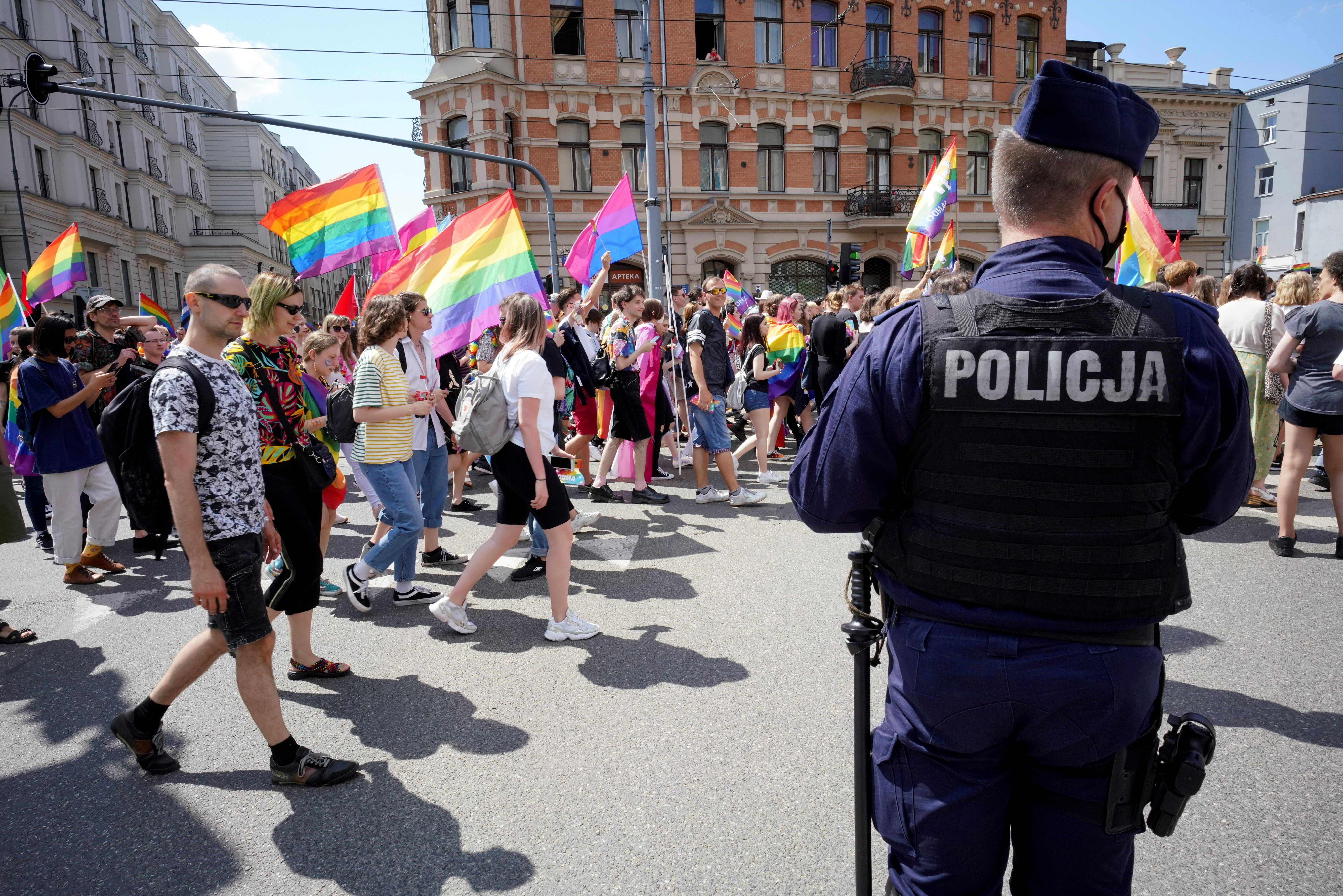 Demonstrators take part in the EqualityMarchin support of the LGBT community, in Lodz, Poland June 26, 2021. Marcin Stepien/Agencja Gazeta via REUTERS