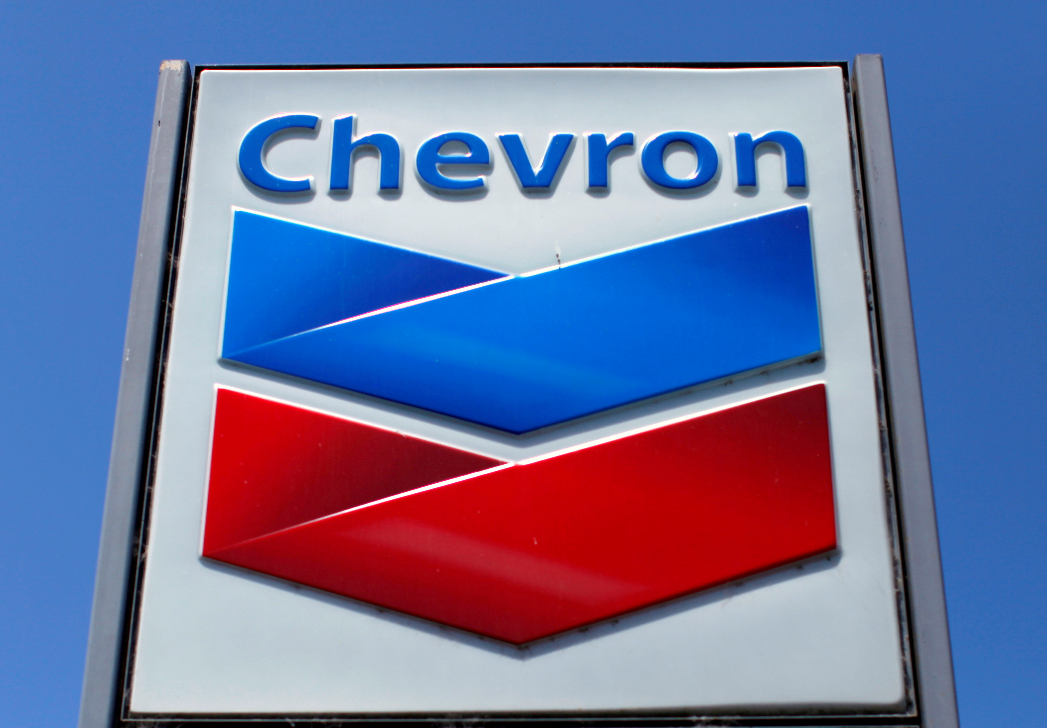 A Chevron gas station sign in Del Mar, California. REUTERS/Mike Blake