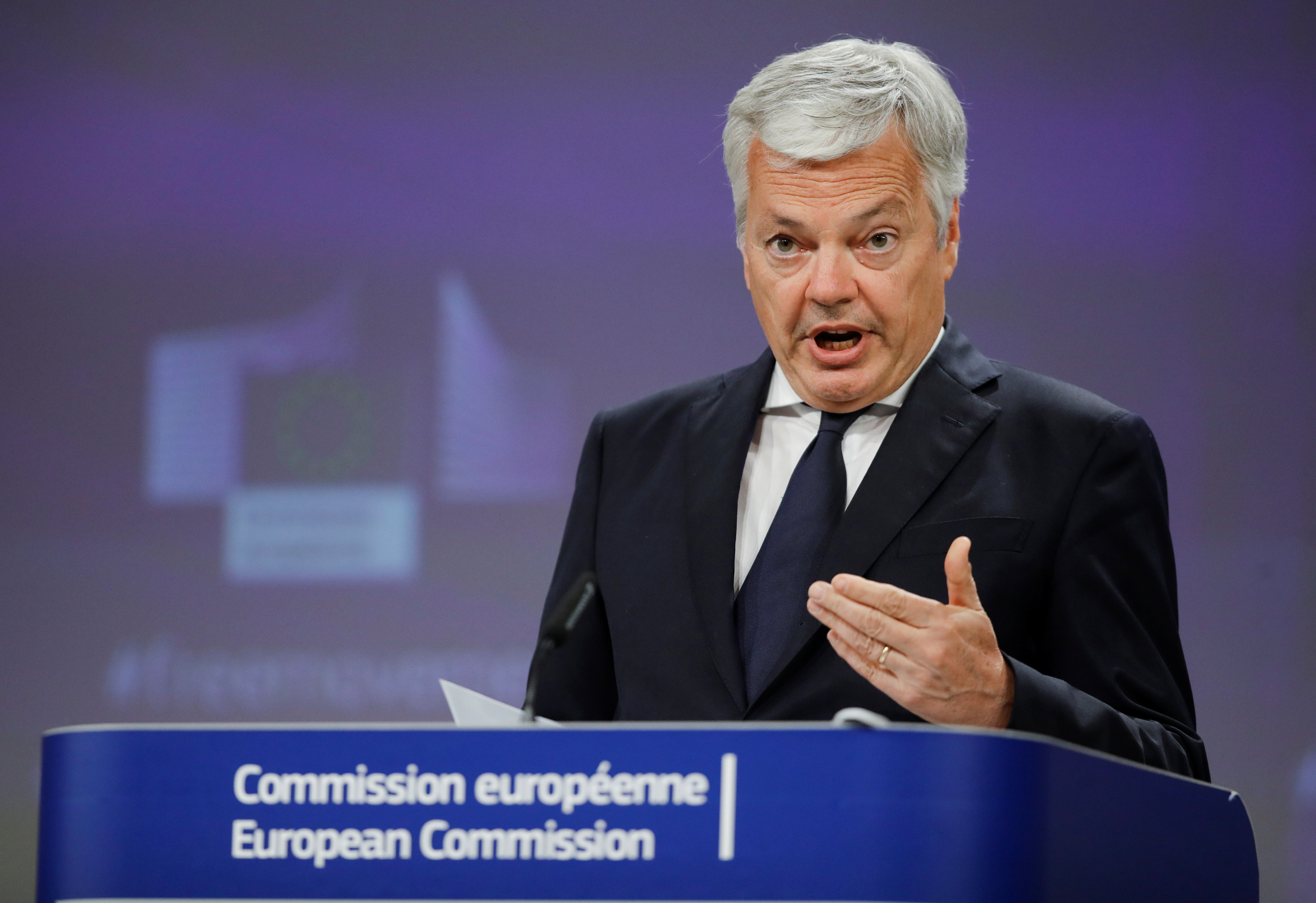 European Commissioner for Justice Didier Reynders gives a press conference on the update of the recommendation for free movement measures in the European Union, in Brussels, Belgium, May 31, 2021. Olivier Hoslet/Pool via REUTERS