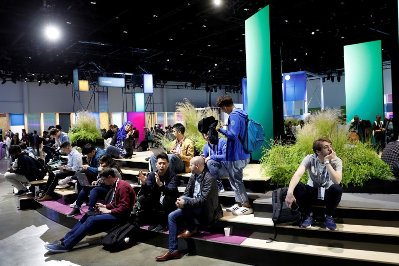 Attendees are seen inside the Festival Hall during Facebook Inc's F8 developers conference in San Jose, California, U.S., April 30, 2019. REUTERS/Stephen Lam/File Photo