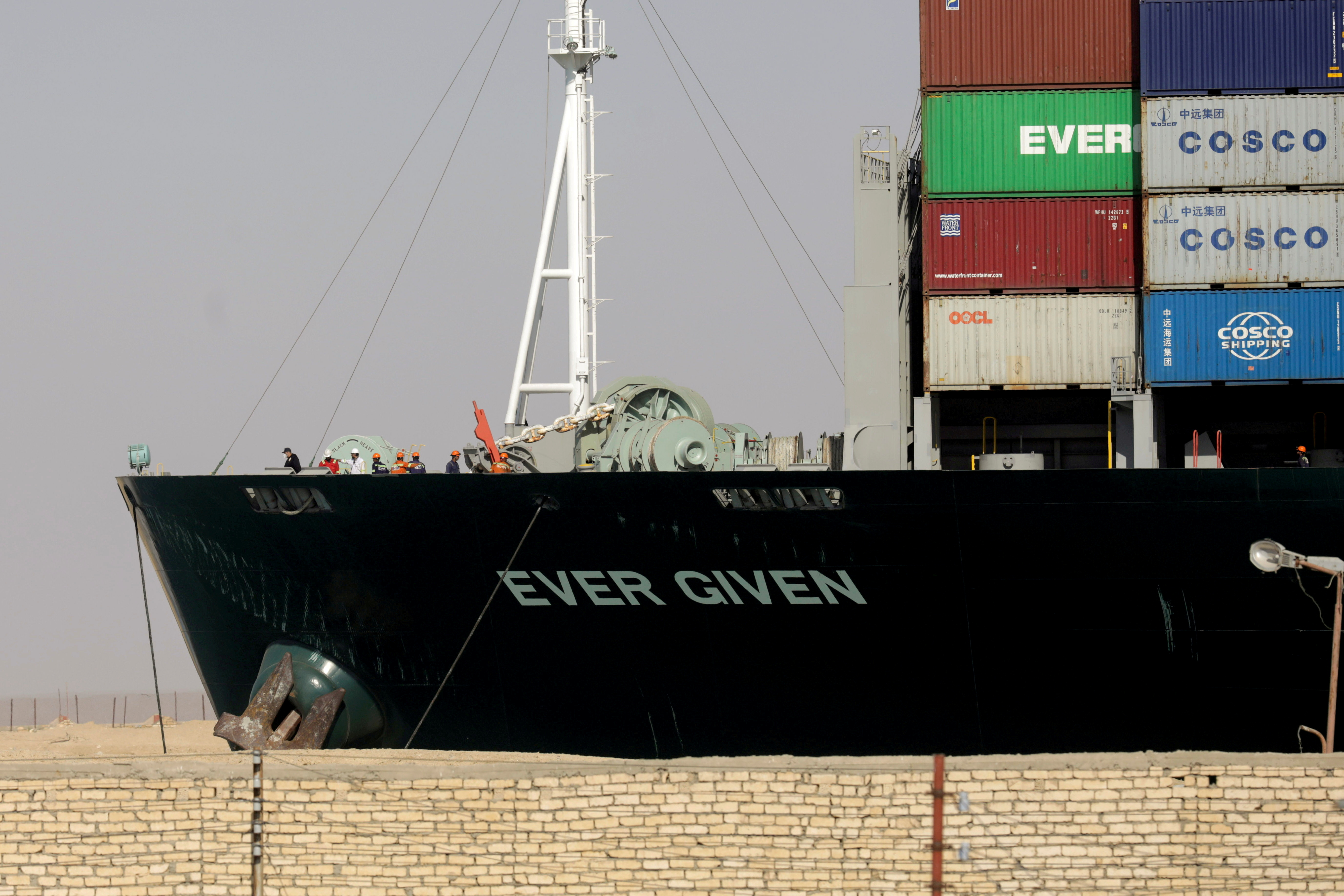 Ship Ever Given, one of the world's largest container ships, is seen after it was fully floated in Suez Canal, Egypt March 29, 2021. REUTERS/Mohamed Abd El Ghany