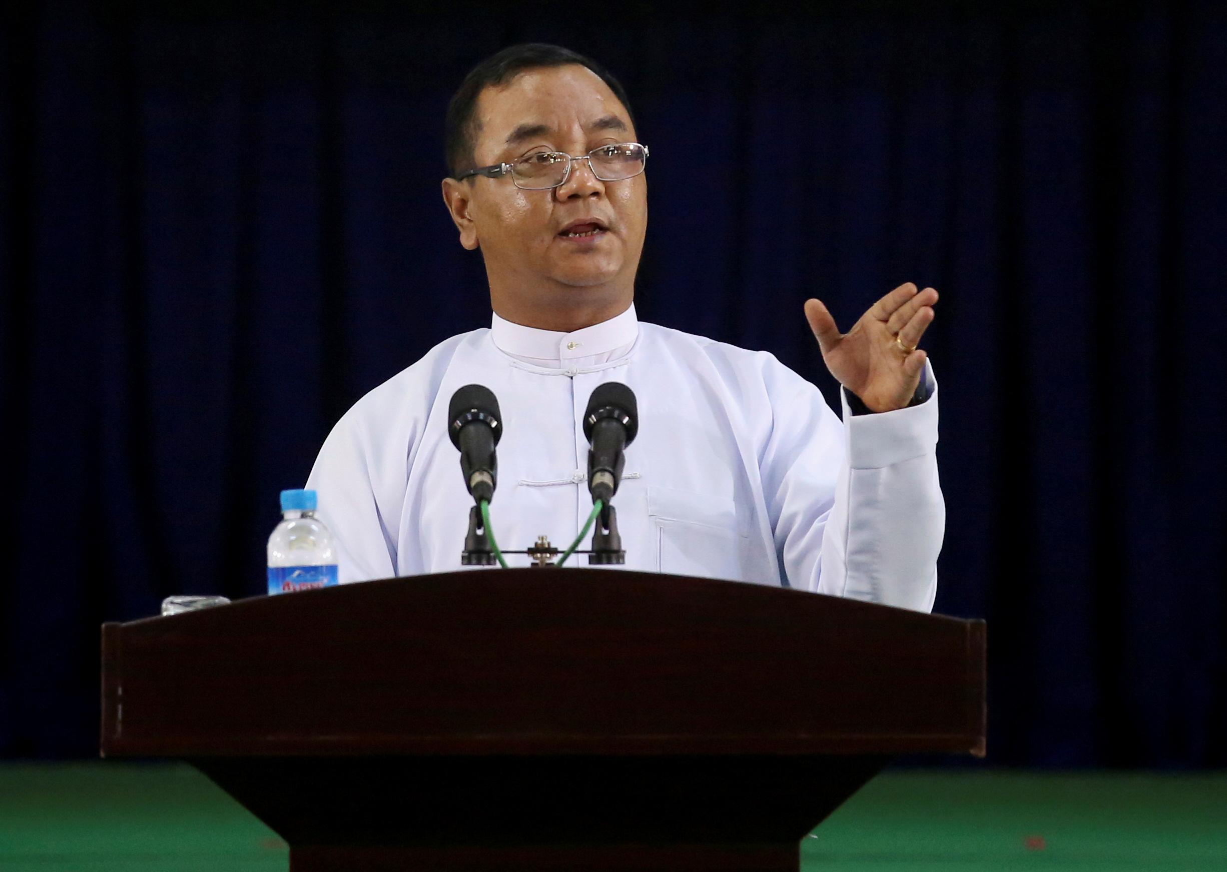 Myanmar's military junta spokesman Zaw Min Tun speaks during the information ministry's press conference in Naypyitaw, Myanmar, March 23, 2021. REUTERS/Stringer