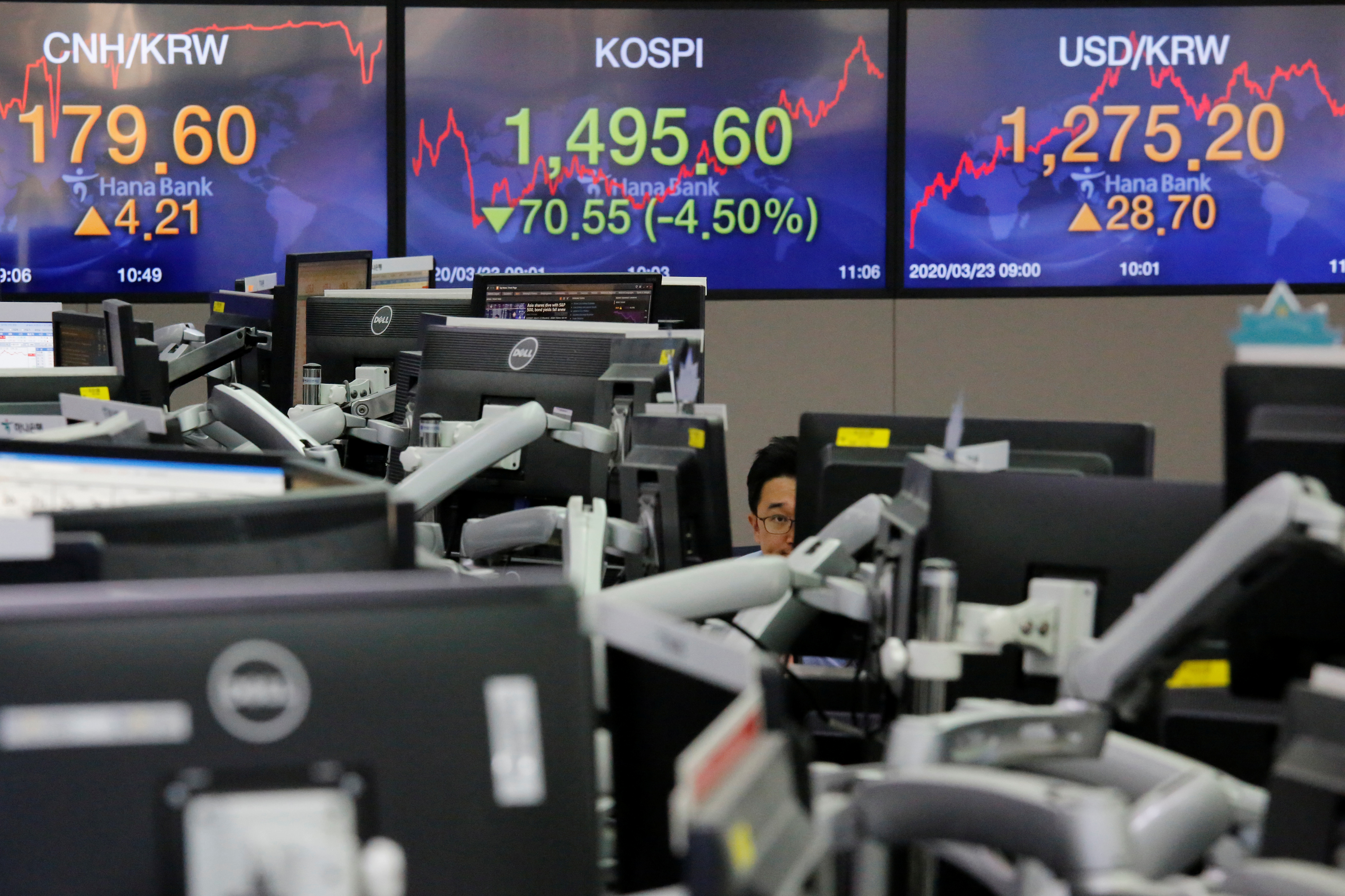 A currency dealer works in front of electronic boards showing the Korea Composite Stock Price Index (KOSPI) and the exchange rate between the U.S. dollar and South Korean won, in Seoul, South Korea, March 23, 2020.    REUTERS/Heo Ran