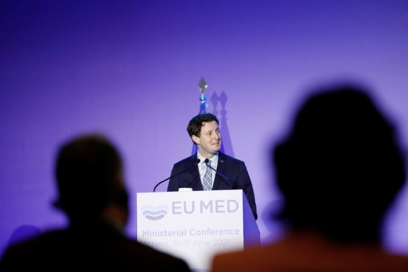 France's Secretary of State for European Affairs, Clement Beaune speaks during an EU MED (MED7) Ministerial Conference's news conference in Athens, Greece, June 11, 2021. REUTERS/Louiza Vradi