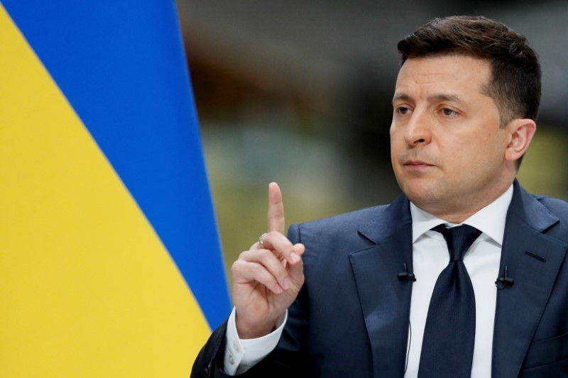 Ukraine's President Volodymyr Zelenskiy gestures during his annual news conference at the Antonov aircraft plant in Kyiv, Ukraine May 20, 2021. REUTERS/Gleb Garanich