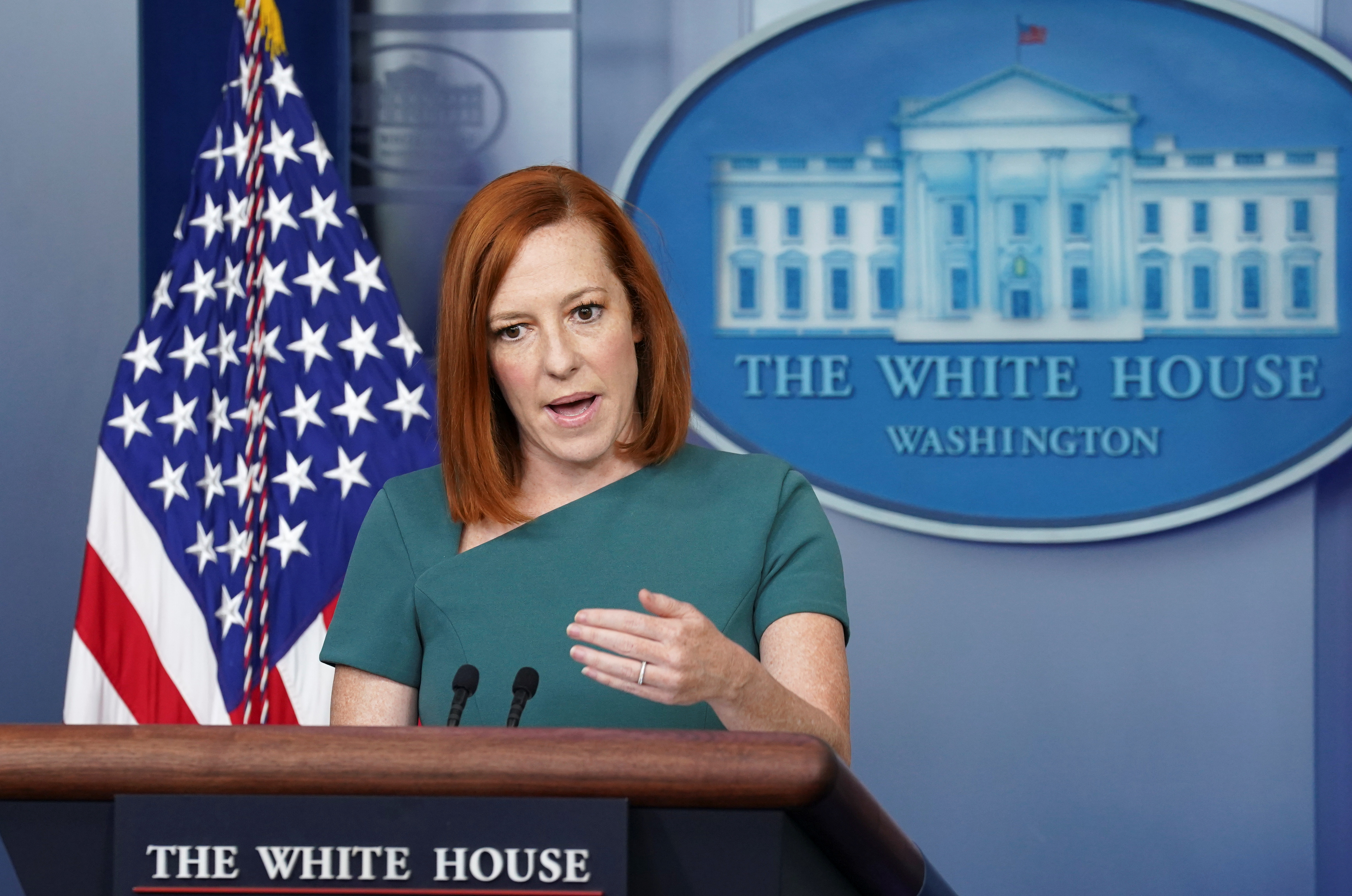 White House Press Secretary Jen Psaki speaks during a briefing at the White House in Washington, U.S., May 20, 2021. REUTERS/Kevin Lamarque
