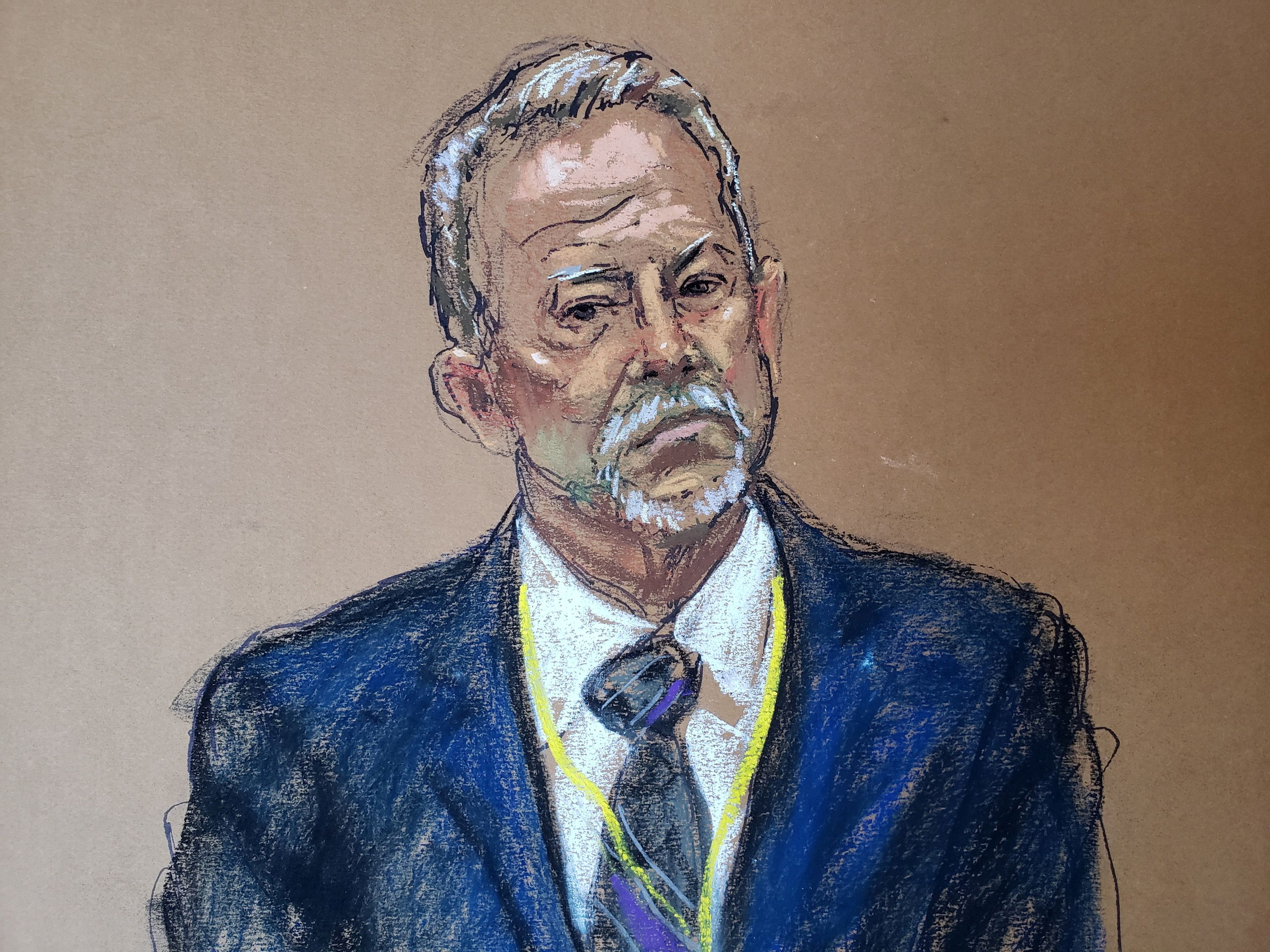 Use-of-force expert Barry Brodd is questioned on the twelfth day of the trial of former Minneapolis police officer Derek Chauvin for second-degree murder, third-degree murder and second-degree manslaughter in the death of George Floyd in Minneapolis, Minnesota, U.S. April 13, 2021 in this courtroom sketch. REUTERS/Jane Rosenberg