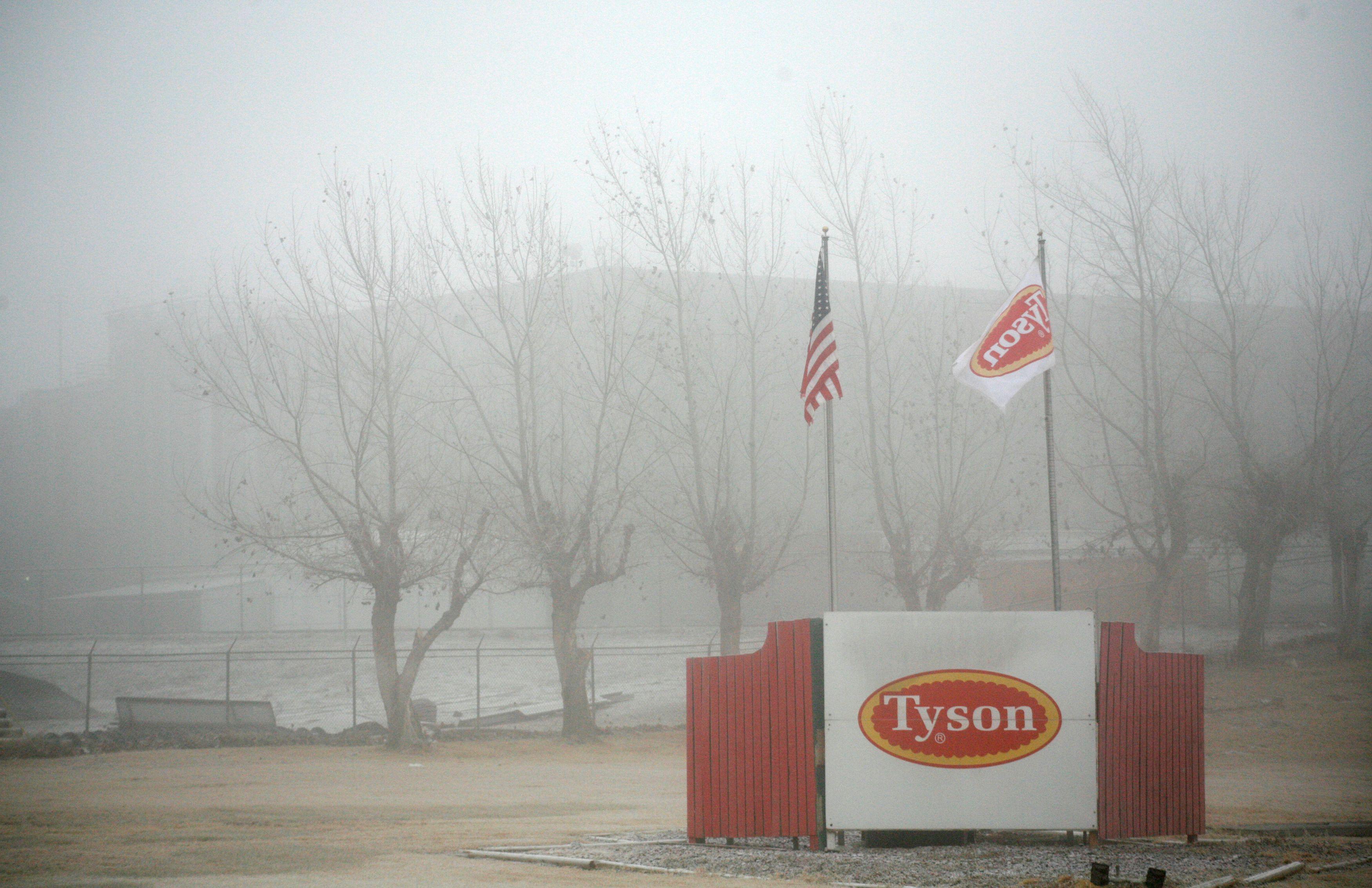 Fog shrouds the Tyson slaughterhouse in Burbank, Washington December 26, 2013. Picture taken December 26, 2013.   REUTERS/Ross Courtney/File Photo