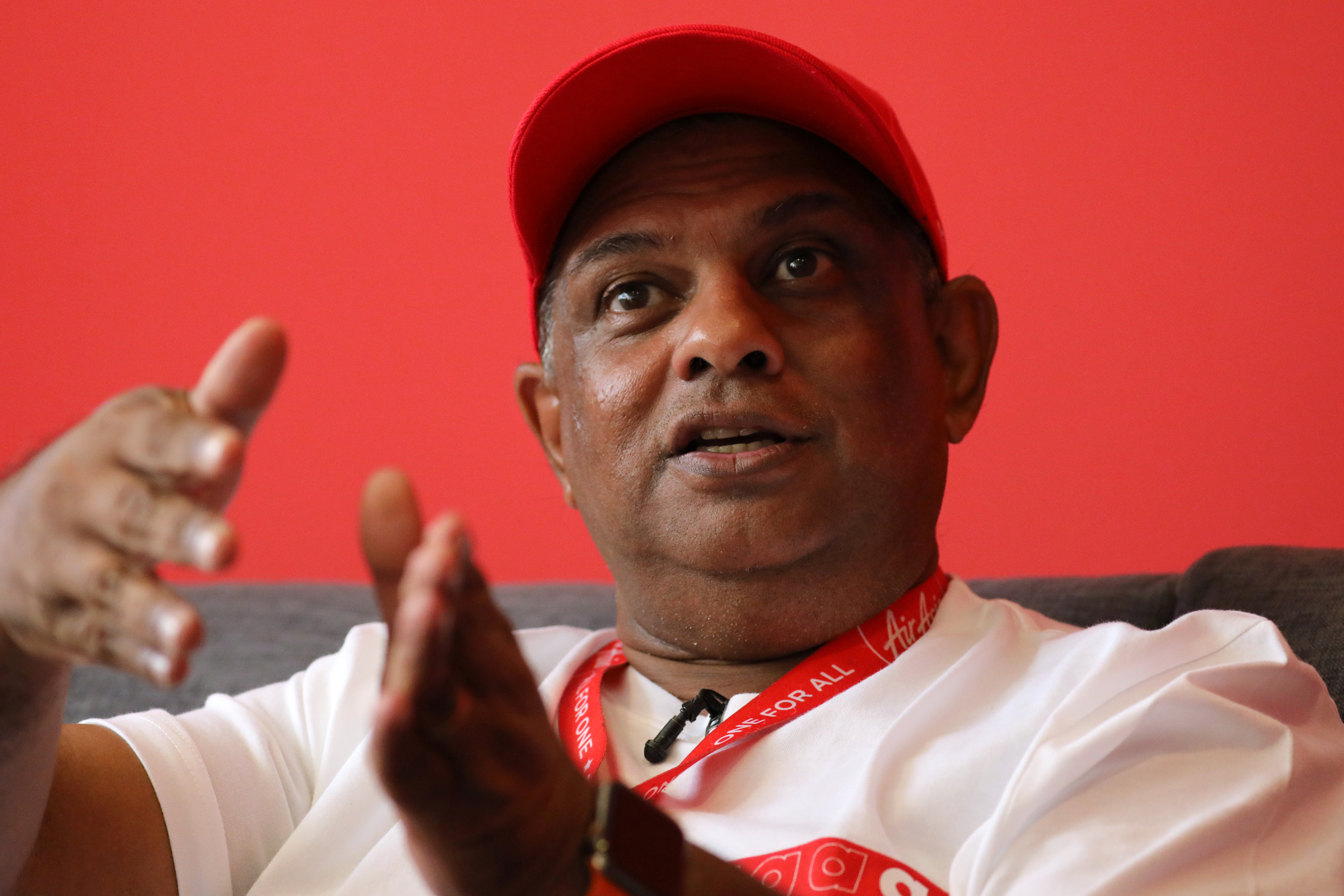 AirAsia Group CEO Tony Fernandes reacts during an interview in Kuala Lumpur, Malaysia October 8, 2020. REUTERS/Lim Huey Teng