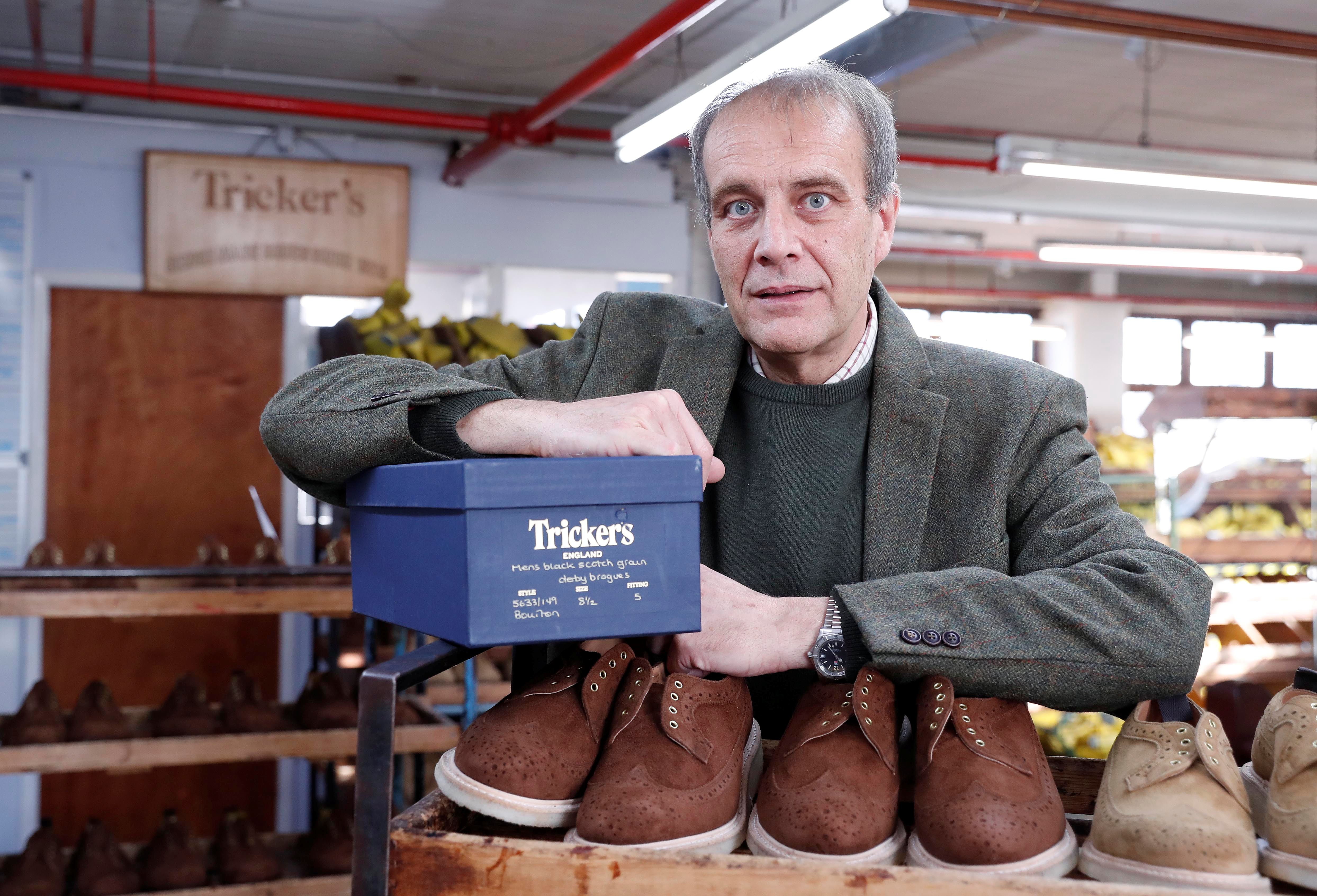 Martin Mason, managing director of British luxury shoemaker Trickers poses for an interview where he discusses European Union customers affected by new tax costs and an increase in product returns, in Northampton, Britain, January 25, 2021.   REUTERS/Matthew Childs