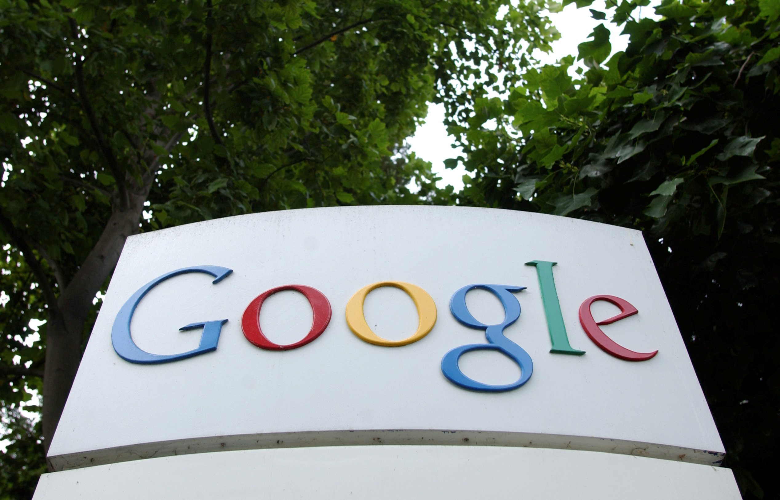 The Google Inc. logo is seen outside their headquarters in Mountain View, California August 18, 2004. REUTERS/Clay McLachlan/File Photo
