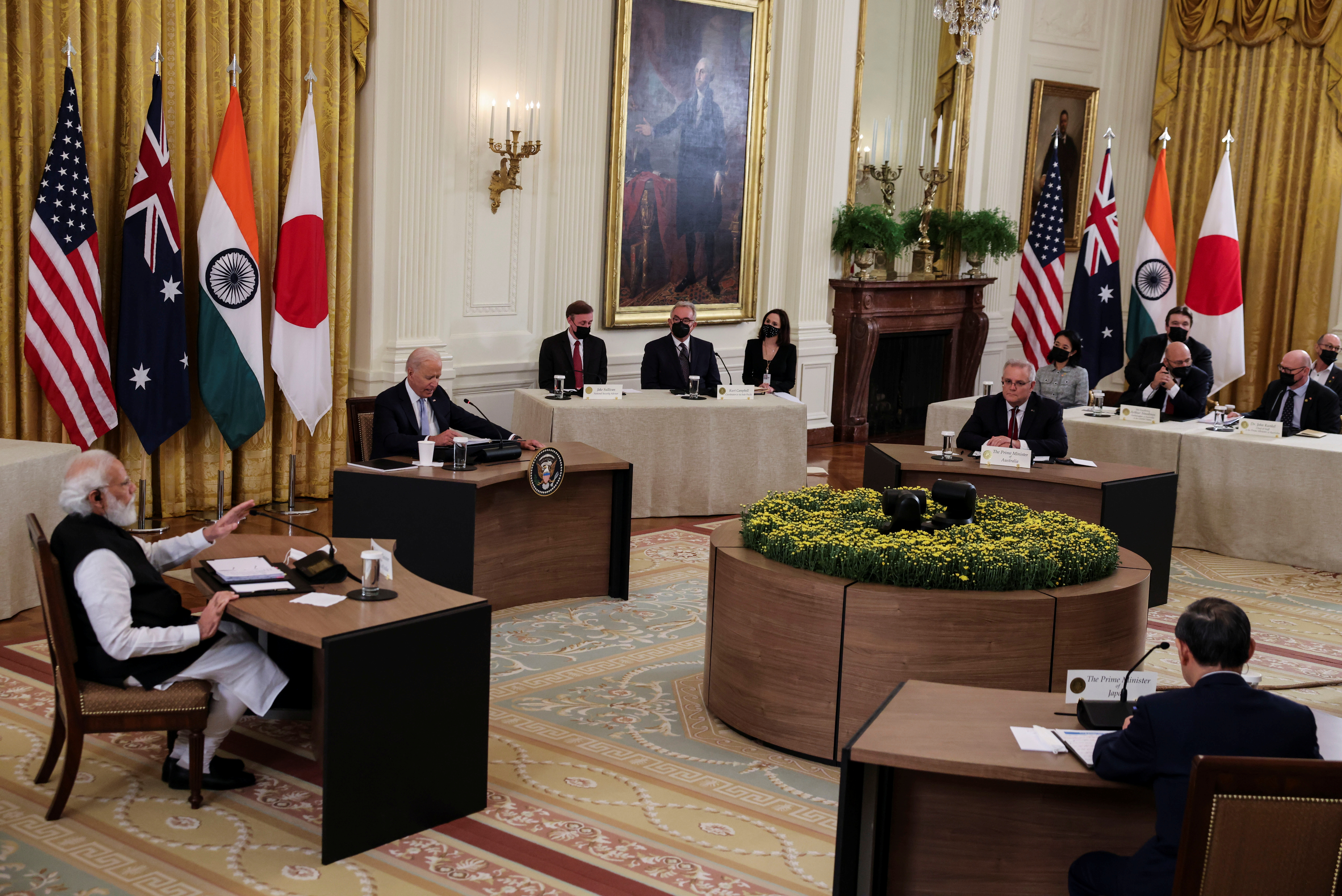 India's Prime Minister Narendra Modi speaks during a 'Quad nations' meeting at the Leaders' Summit of the Quadrilateral Framework hosted by U.S. President Joe Biden with Australia's Prime Minister Scott Morrison and Japan's Prime Minister Yoshihide Suga in the East Room at the White House in Washington, U.S., September 24, 2021. REUTERS/Evelyn Hockstein