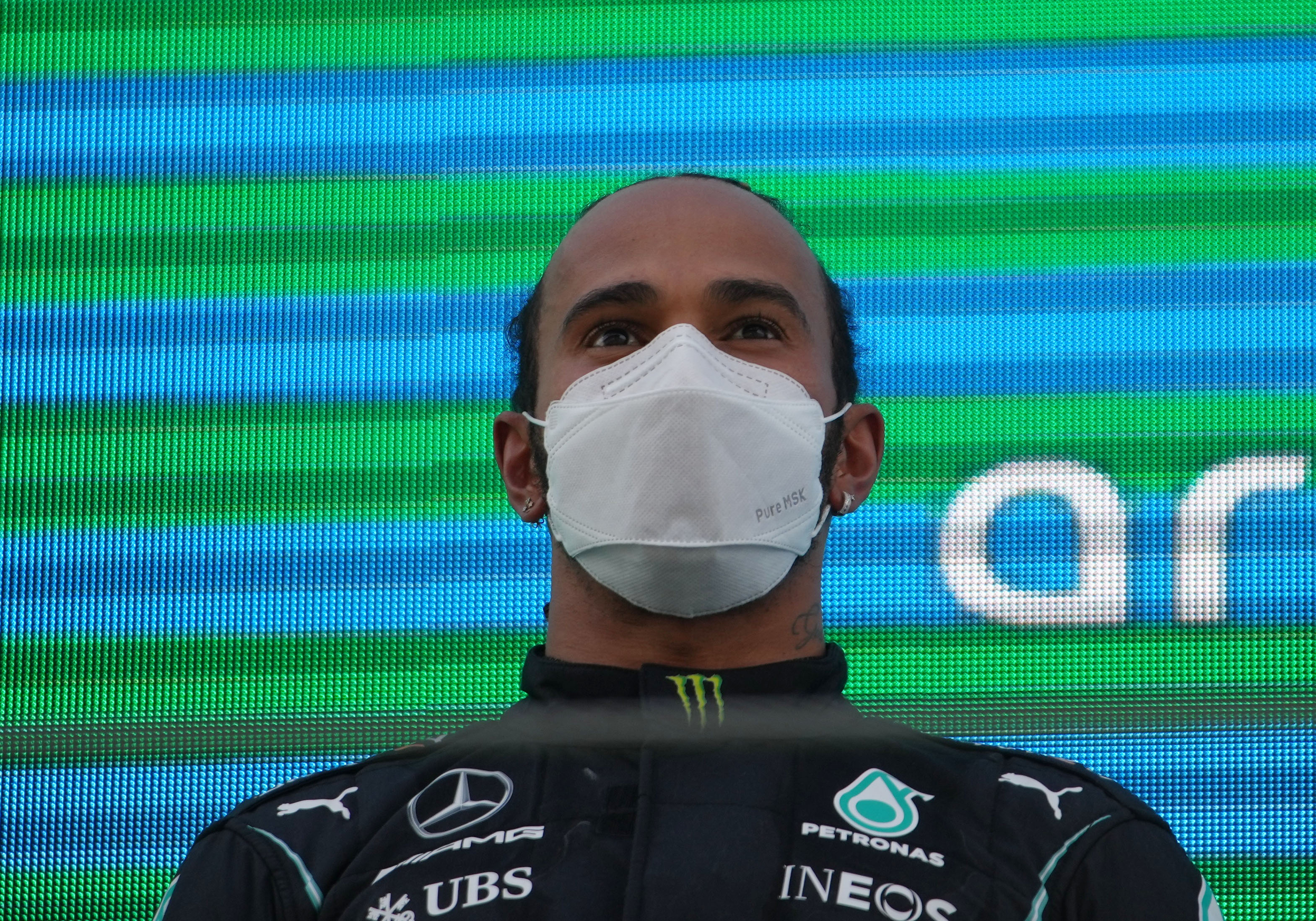 Formula One F1 - Spanish Grand Prix - Circuit de Barcelona-Catalunya, Barcelona, Spain - May 9, 2021 Mercedes' Lewis Hamilton after winning the race Pool via REUTERS/Emilio Morenatti