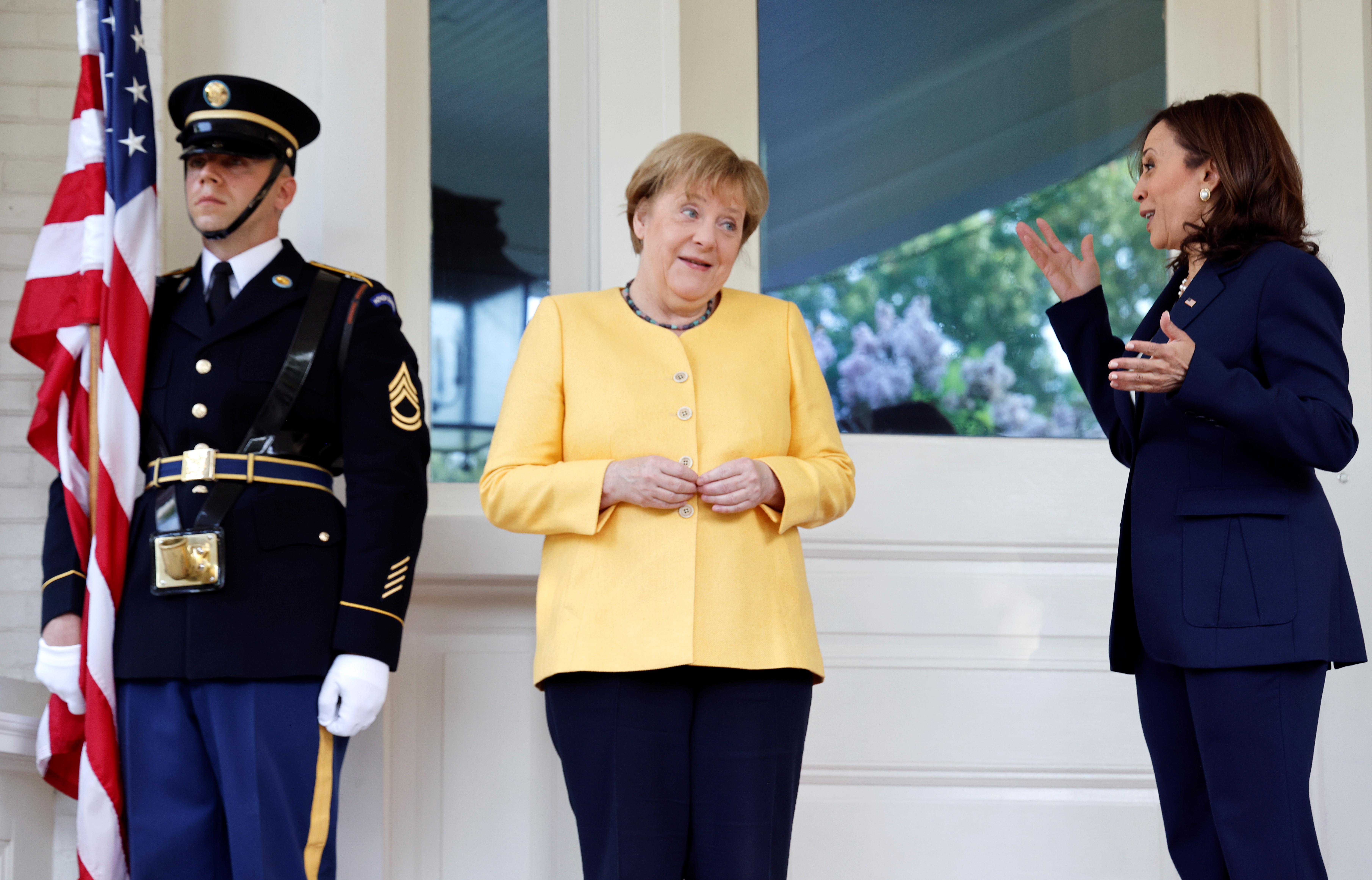 U.S. Vice President Kamala Harris meets with German Chancellor Angela Merkel at the U.S. Naval Observatory, Vice President's residence, in Washington, July 15, 2021. REUTERS/Jonathan Ernst