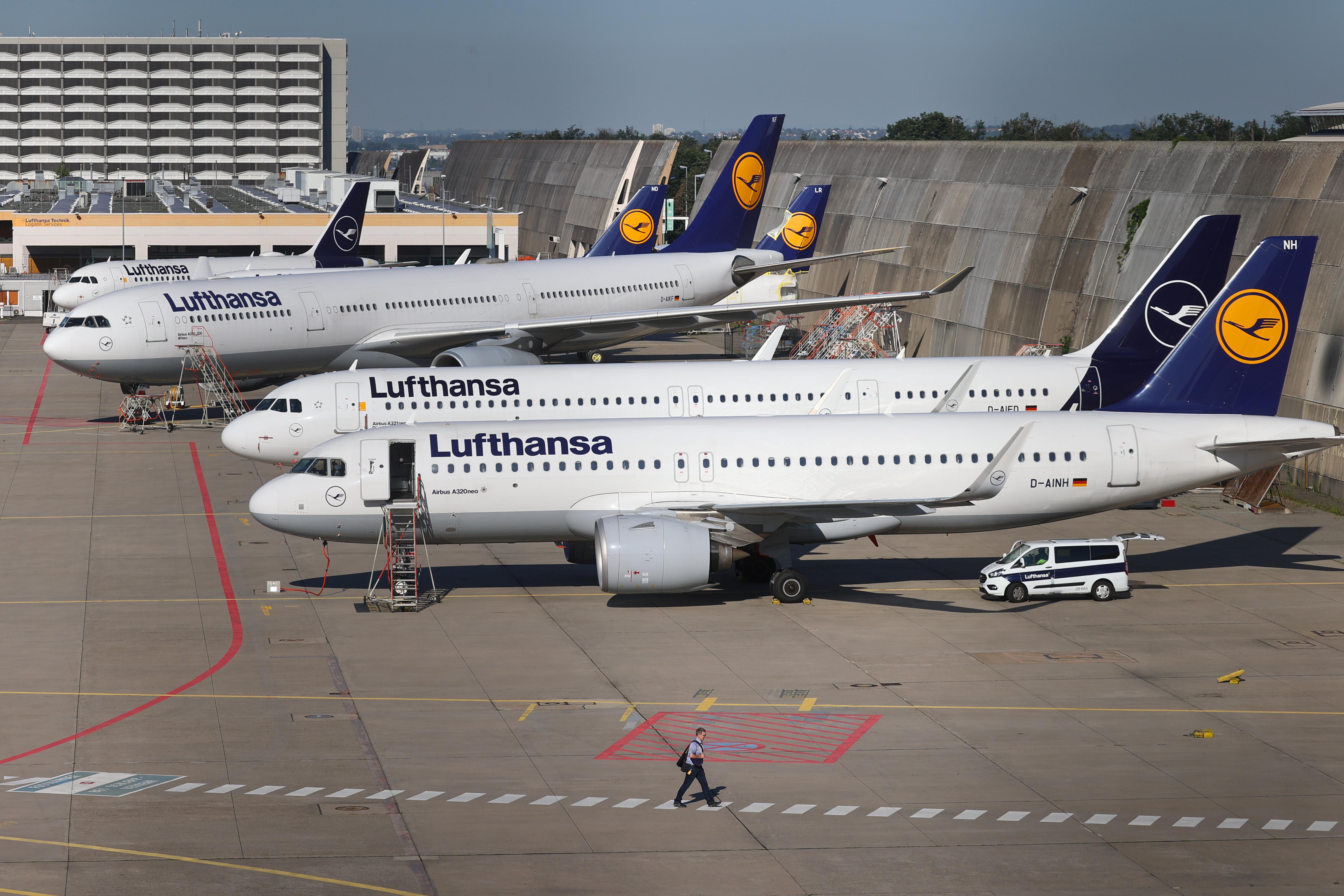 Lufthansa planes are seen at Frankfurt Airport, Germany, June 25, 2020.