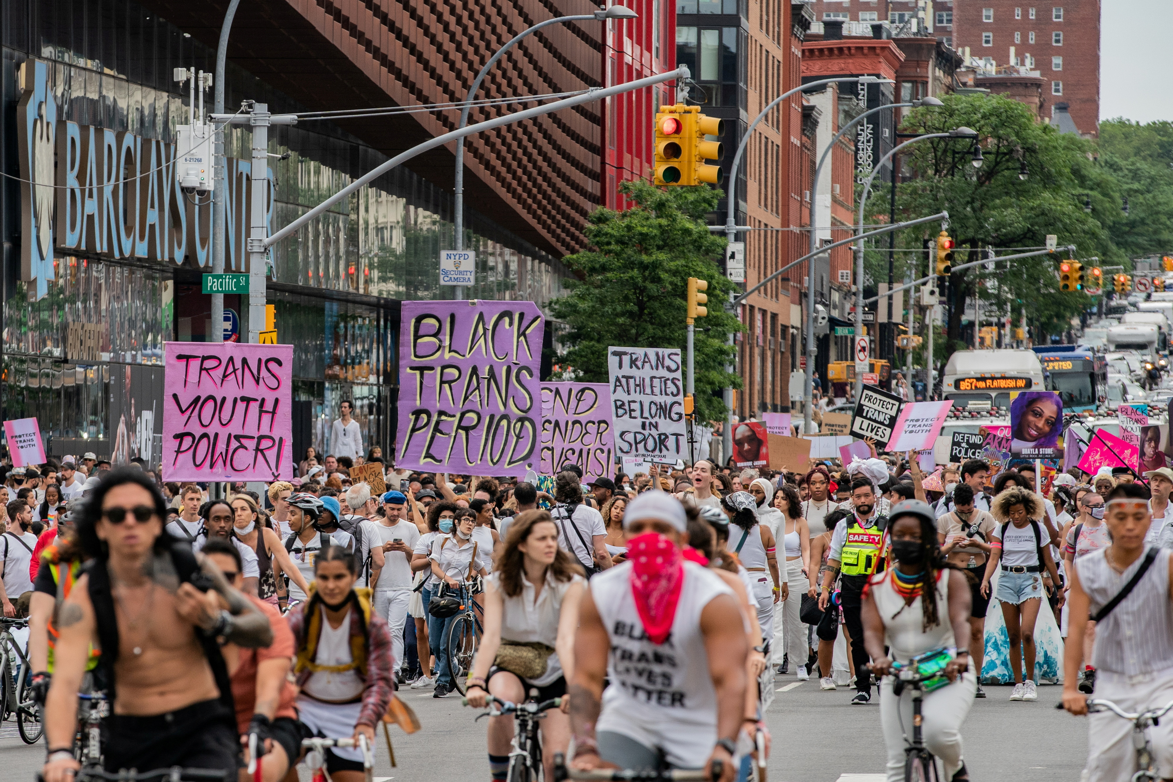 People march during the Brooklyn Liberation's Protect Trans Youth event in the Brooklyn borough of New York City, U.S., June 13, 2021. REUTERS/Jeenah Moon