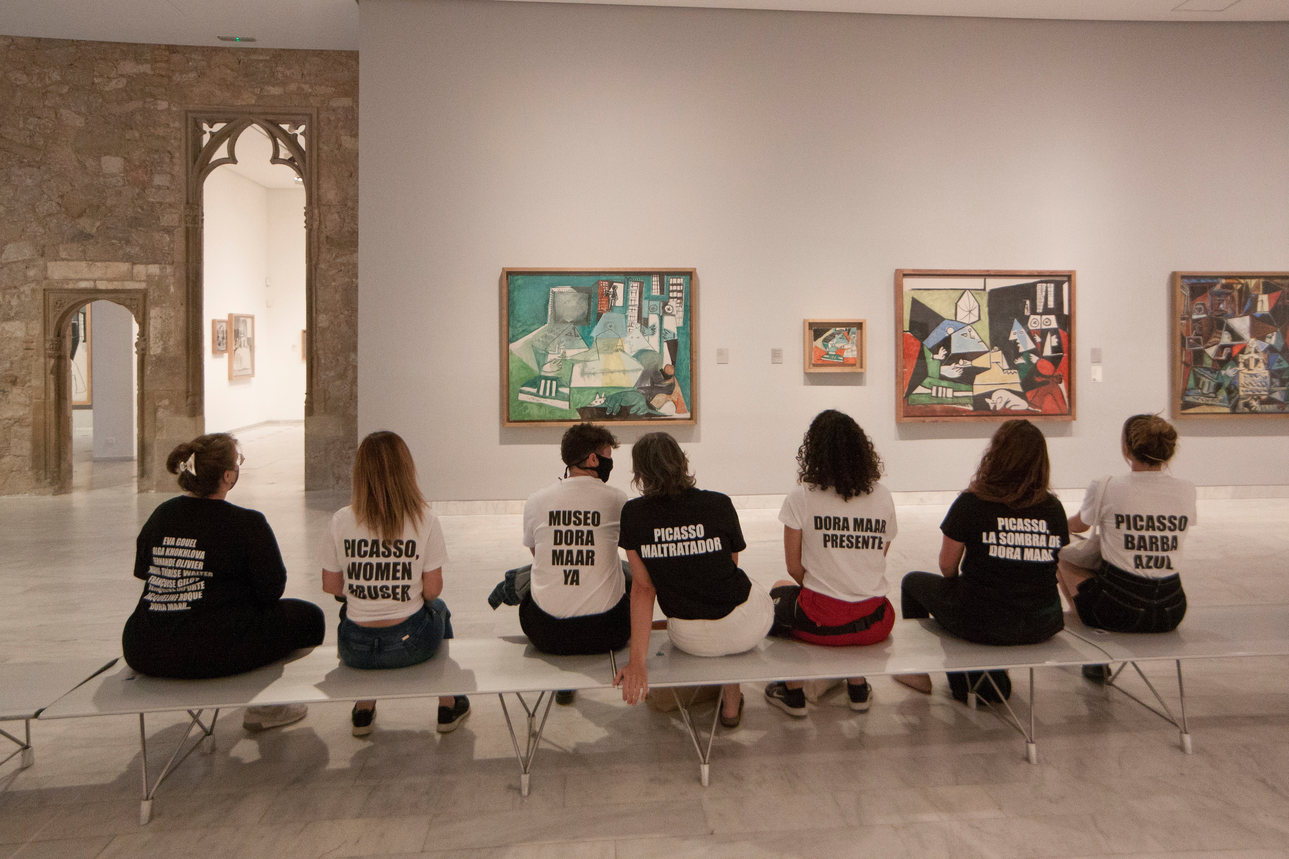 Students protest inside Picasso Museum in Barcelona, Spain May 27, 2021. Picture taken May 27, 2021 in this picture obtained from social media. Ismael Llopis/via REUTERS