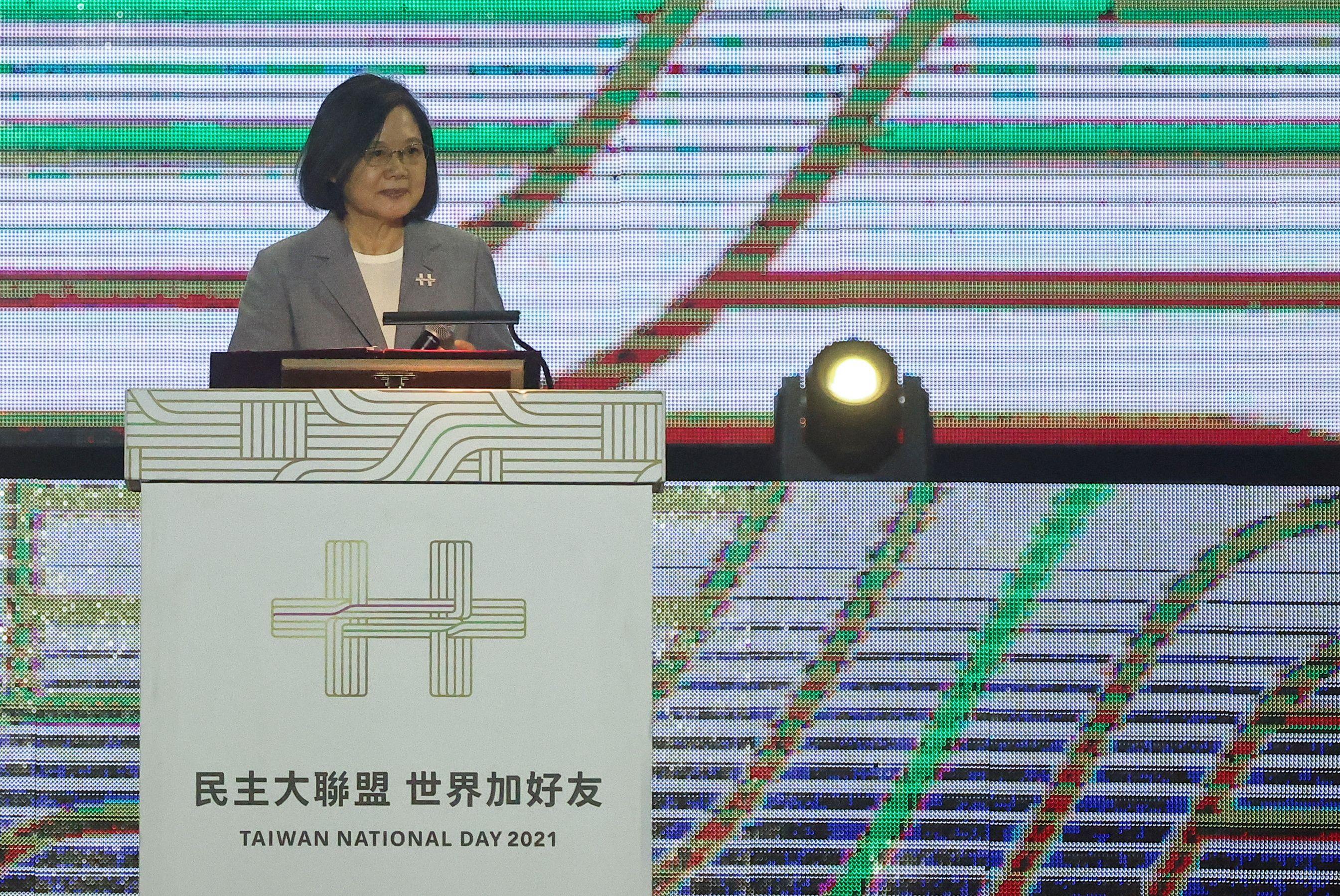 Taiwan President Tsai Ing-wen attends a gala on the eve of Taiwan's National Day at Hsinchu Air Force Base in Hsinchu, Taiwan October 9, 2021. REUTERSN/Ann Wang