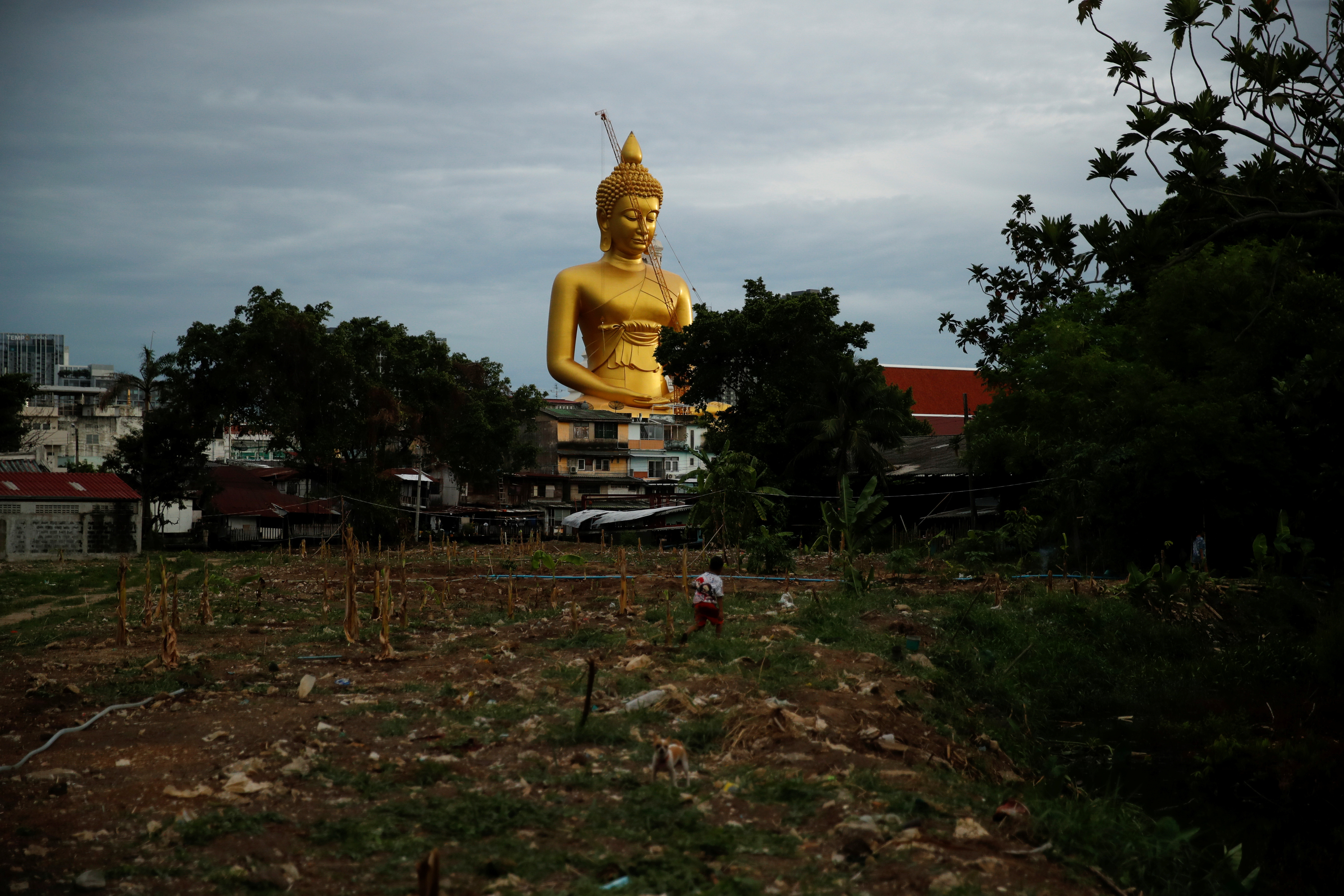 The giant Buddha statue of Wat Paknam Phasi Charoen temple is seen behind a neglected land in Bangkok, Thailand, June 16, 2021. Picture taken June 16, 2021. REUTERS/Jorge Silva