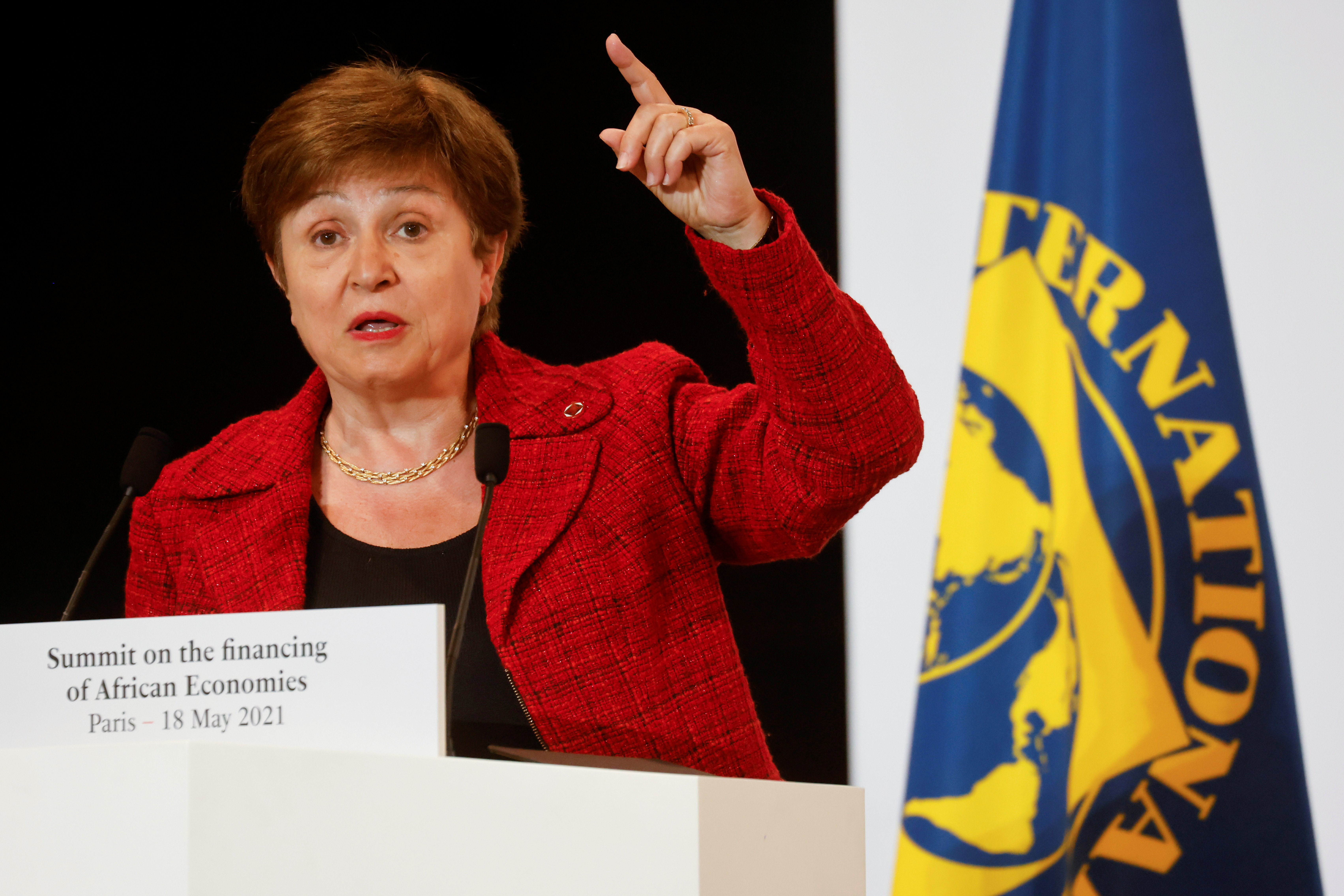 International Monetary Fund Managing Director Kristalina Georgieva speaks during a joint news conference at the end of the Summit on the Financing of African Economies in Paris, France May 18, 2021. Ludovic Marin/Pool via REUTERS