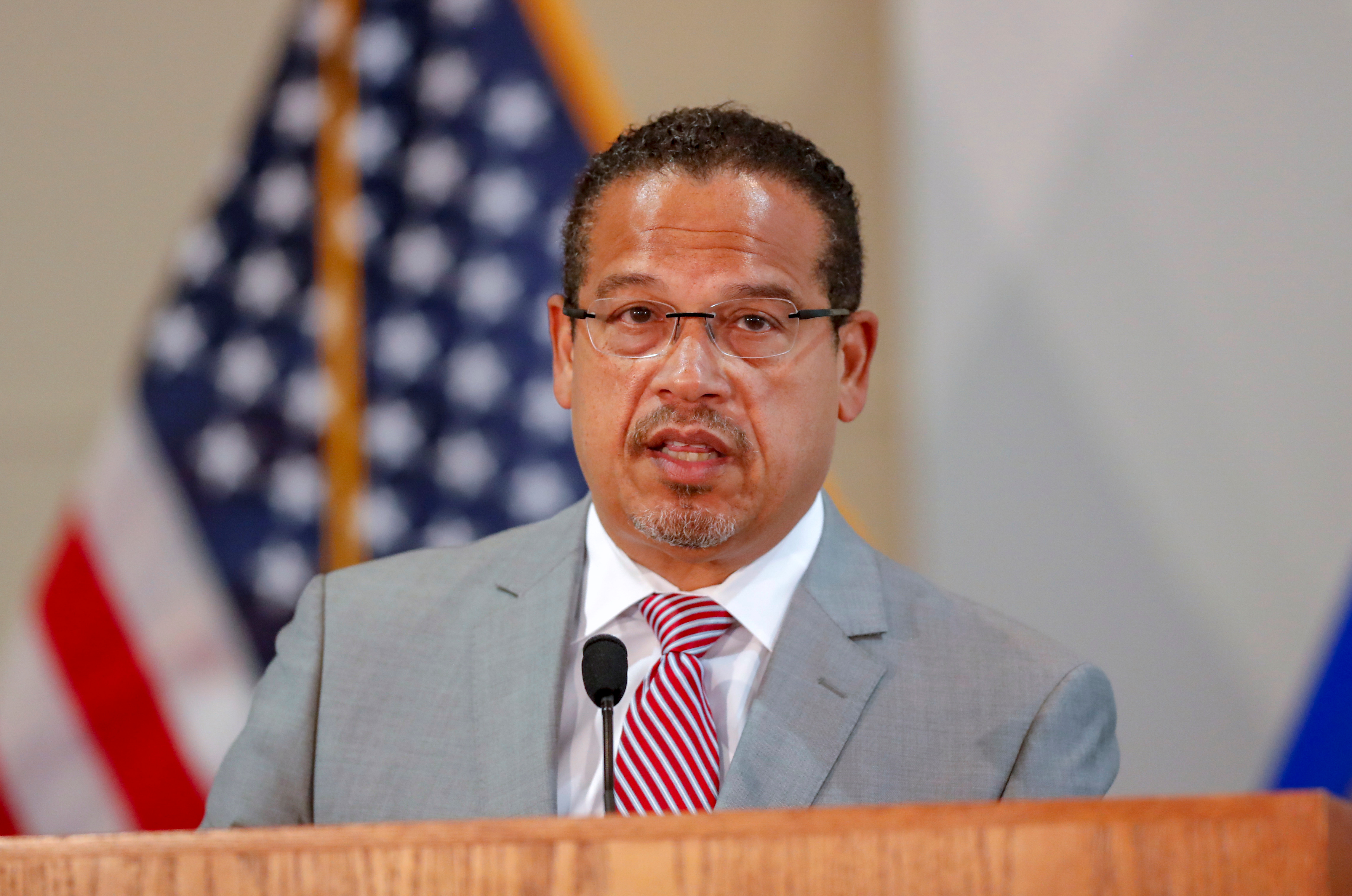 Minnesota Attorney General Keith Ellison announces upgraded charges against former Minneapolis police officer Derek Chauvin and charges against three other former police officers involved in the death of George Floyd in police custody, in St. Paul, Minnesota, U.S. June 3, 2020. REUTERS/Eric Miller