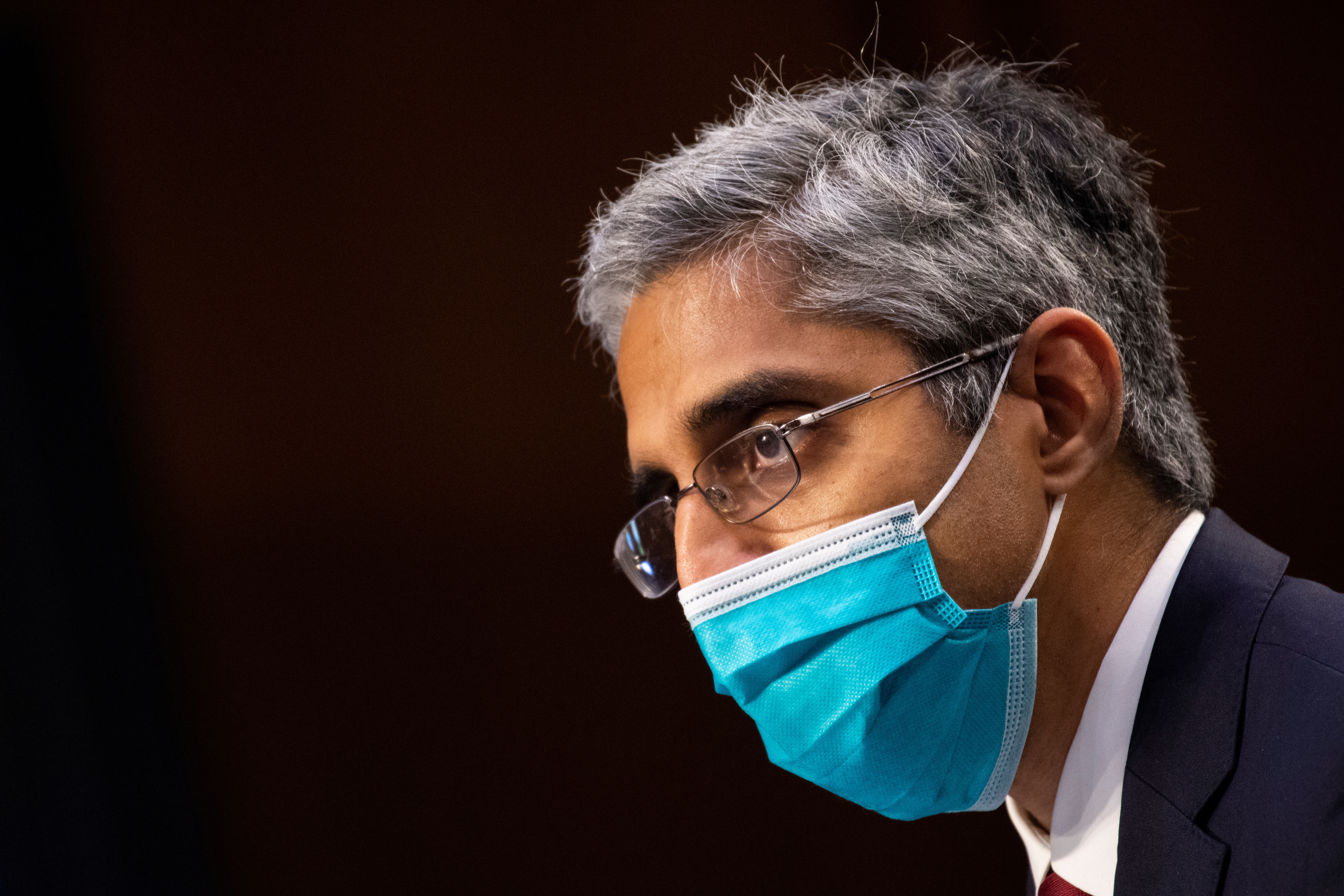 Vivek Murthy speaks during his confirmation hearing to be Medical Director in the Regular Corps of the Public Health Service and to be Surgeon General of the Public Health Service before the Senate Health, Education, Labor, and Pensions committee in Washington, U.S. February 25, 2021. Caroline Brehman/Pool via REUTERS