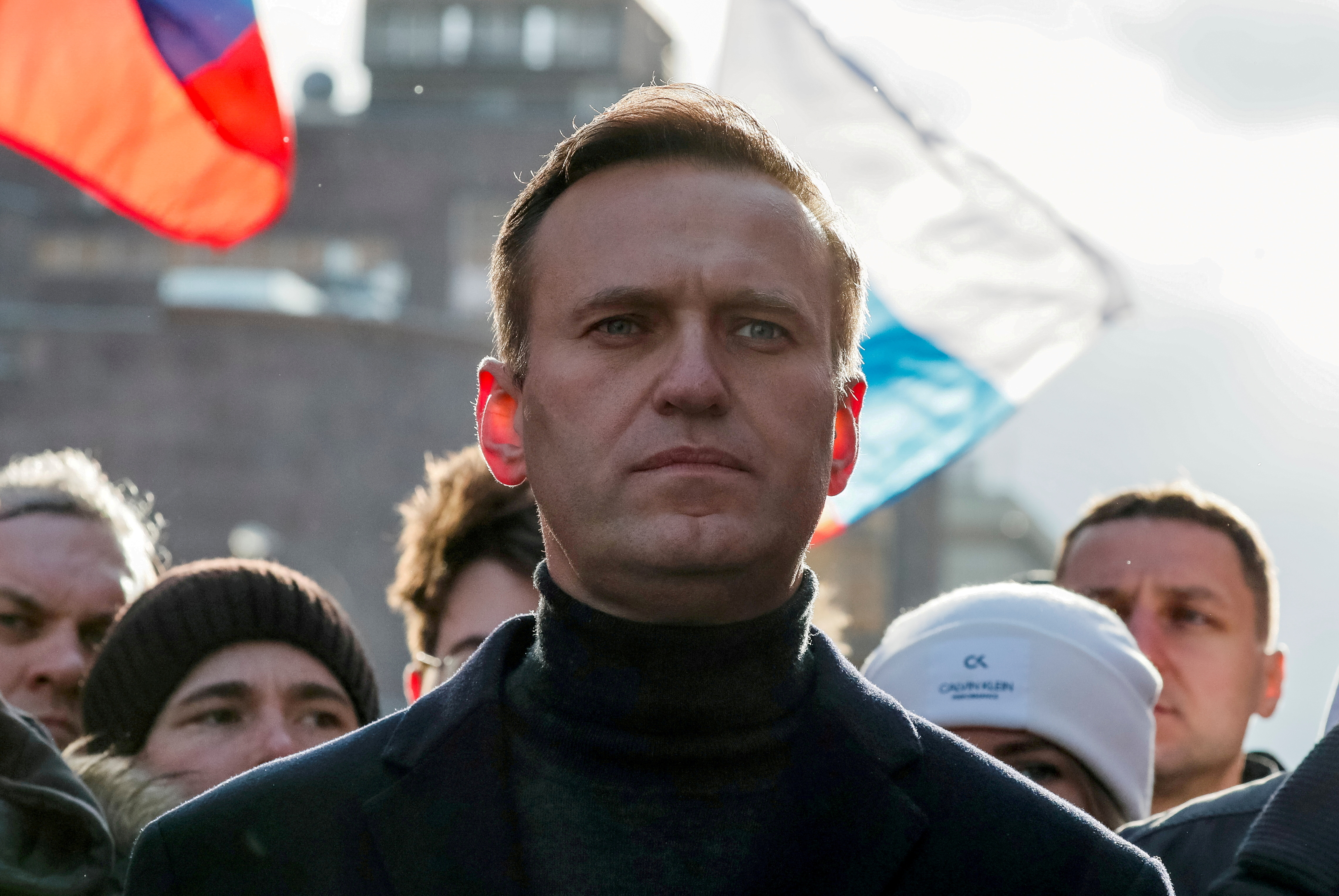 Russian opposition politician Alexei Navalny takes part in a rally to mark the 5th anniversary of opposition politician Boris Nemtsov's murder and to protest against proposed amendments to the country's constitution, in Moscow, Russia February 29, 2020. REUTERS/Shamil Zhumatov