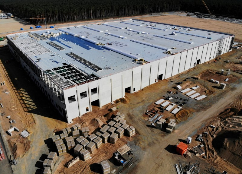The construction site of the future Tesla Gigafactory is seen in Gruenheide near Berlin, Germany, September 19, 2020. Picture taken with a drone. REUTERS/Hannibal Hanschke/File Photo