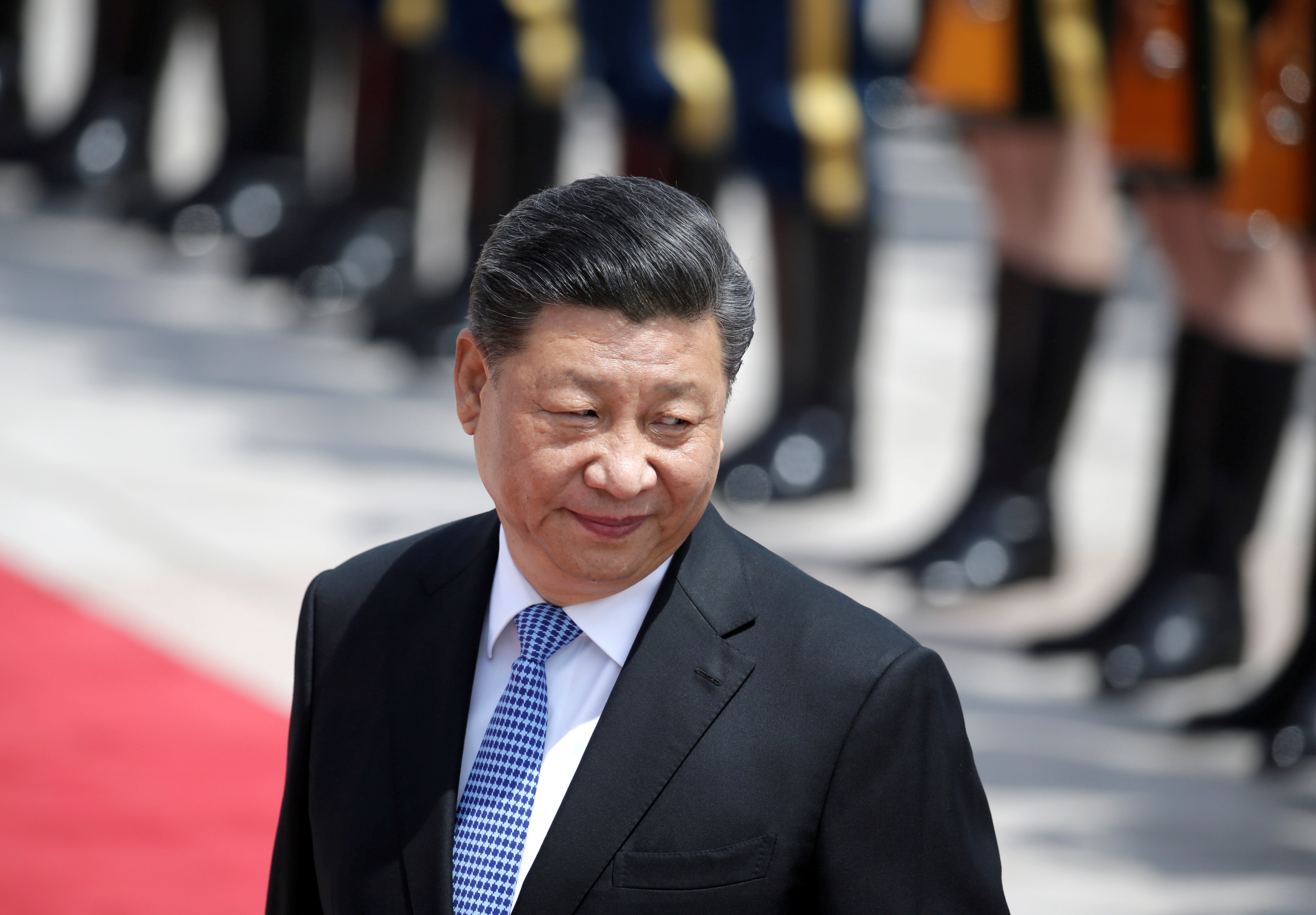 Chinese President Xi Jinping attends a welcoming ceremony for Greek President Prokopis Pavlopoulos outside the Great Hall of the People, in Beijing, China May 14, 2019.