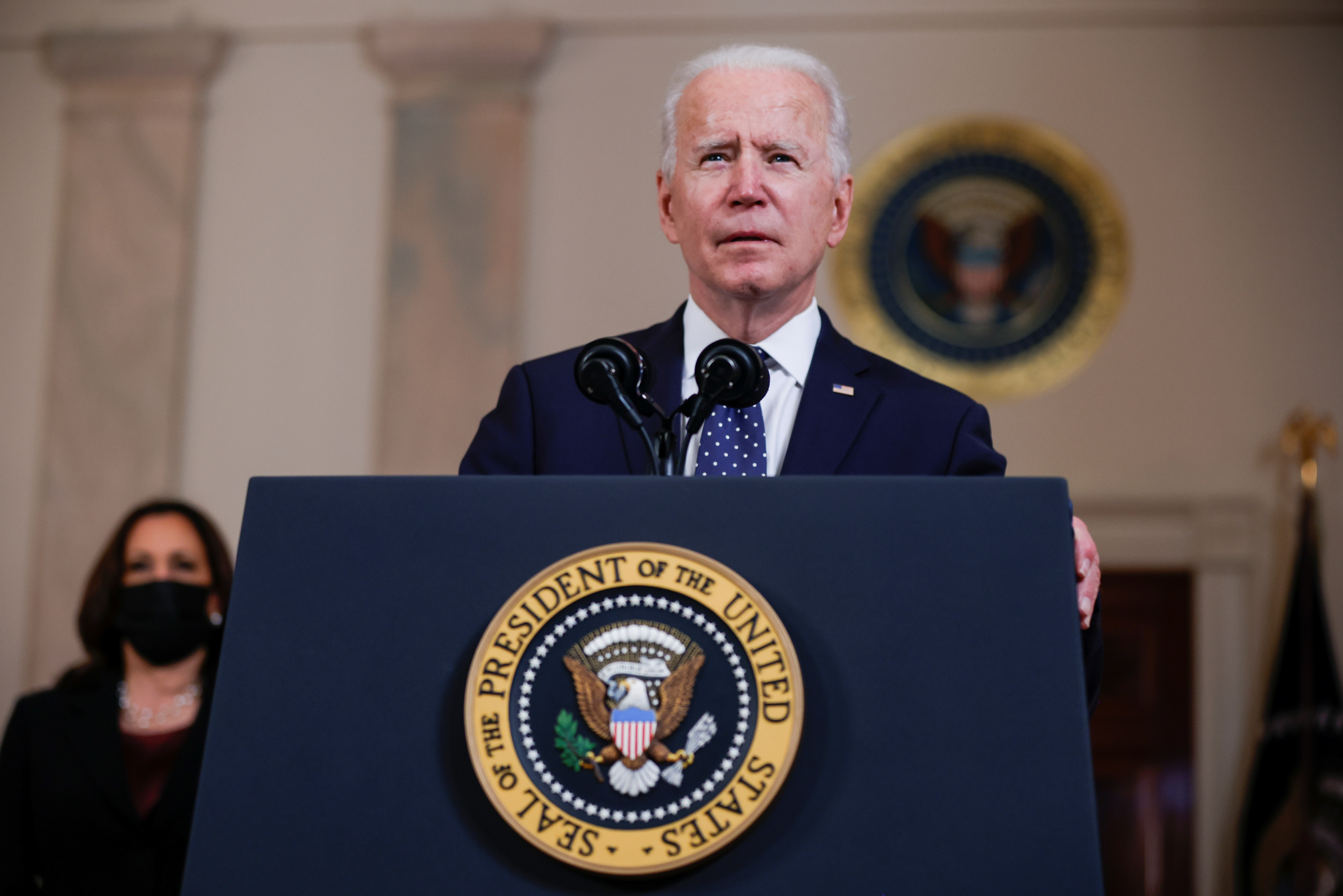 U.S. President Joe Biden speaks after a jury reached guilty verdicts in the murder trial of former Minneapolis police officer Derek Chauvin stemming from George Floyd's deadly arrest, in the Cross Hall at the White House in Washington, U.S., April 20, 2021. REUTERS/Tom Brenner