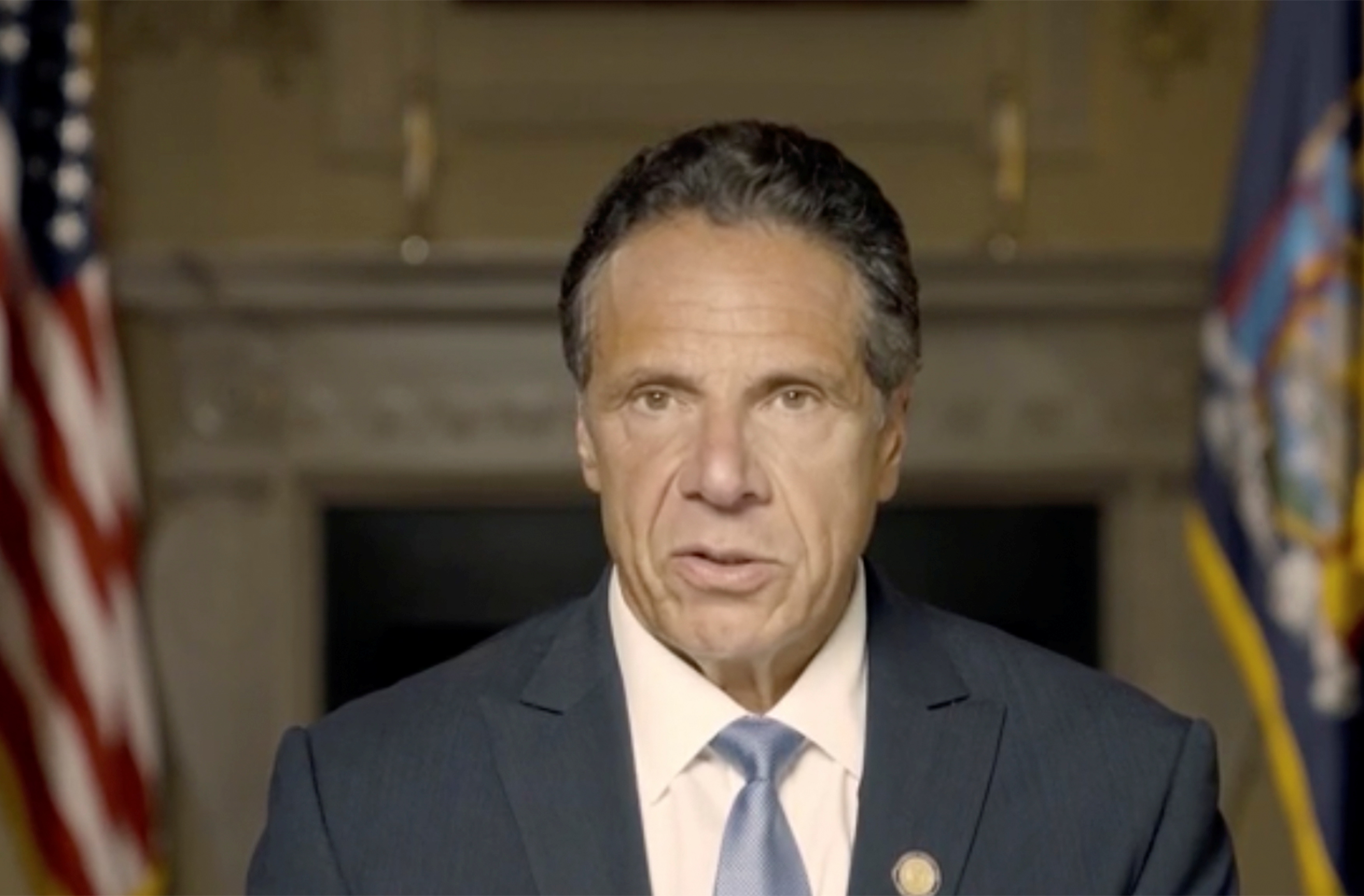 New York Governor Andrew Cuomo makes a statement in this screen grab taken from a pre-recorded video released by Office of the NY Governor, in New York, U.S., August 3, 2021.  Office of Governor Andrew M. Cuomo/Handout via REUTERS