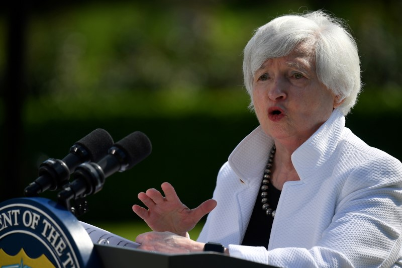 U.S. Treasury Secretary Janet Yellen speaks during a news conference, after attending the G7 finance ministers meeting, at Winfield House in London, Britain June 5, 2021. Justin Tallis/Pool via REUTERS/File Photo